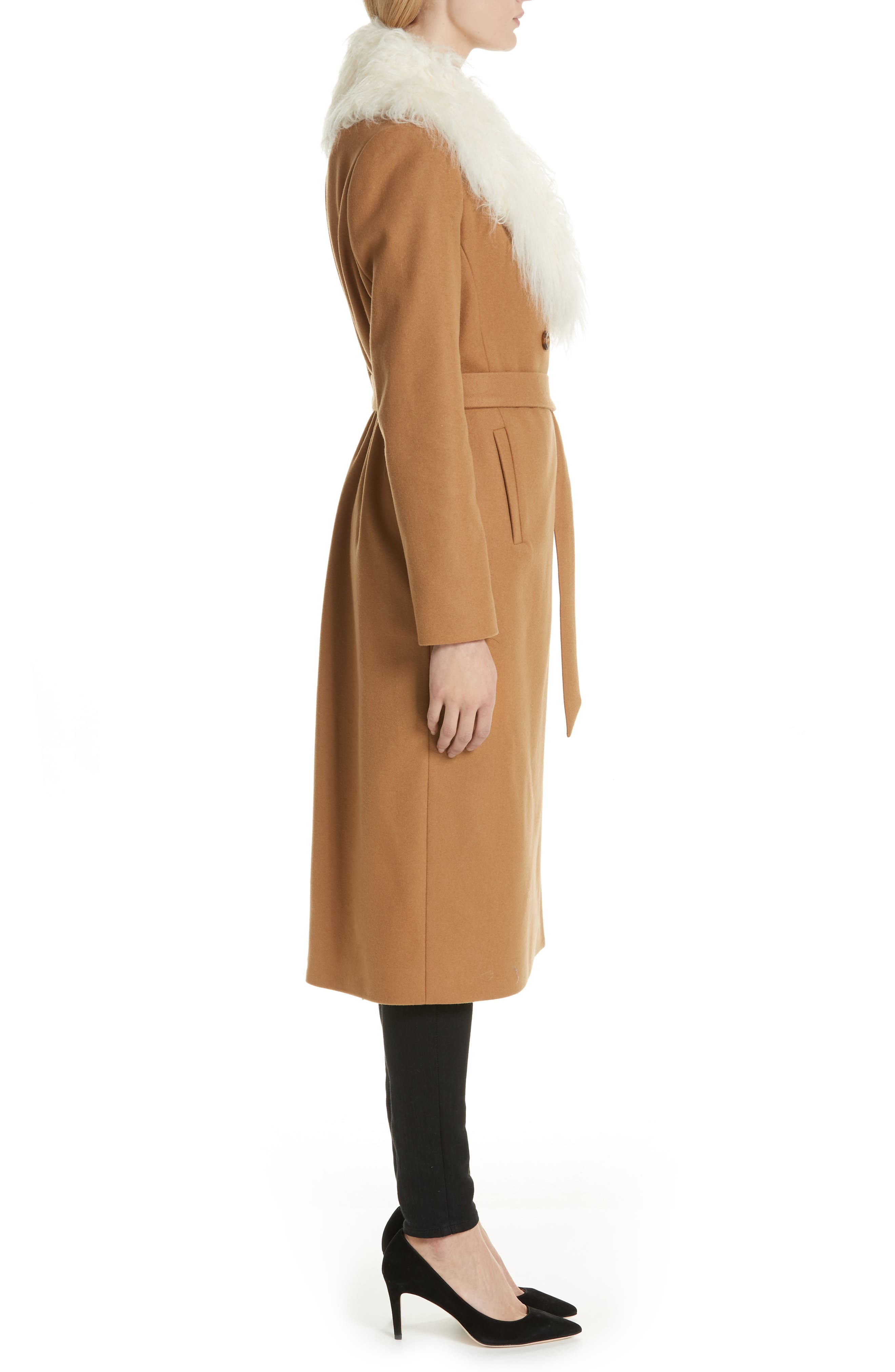 Colour by Numbers Alcaza Wool Coat with Removable Faux Fur Collar,                             Alternate thumbnail 3, color,                             257