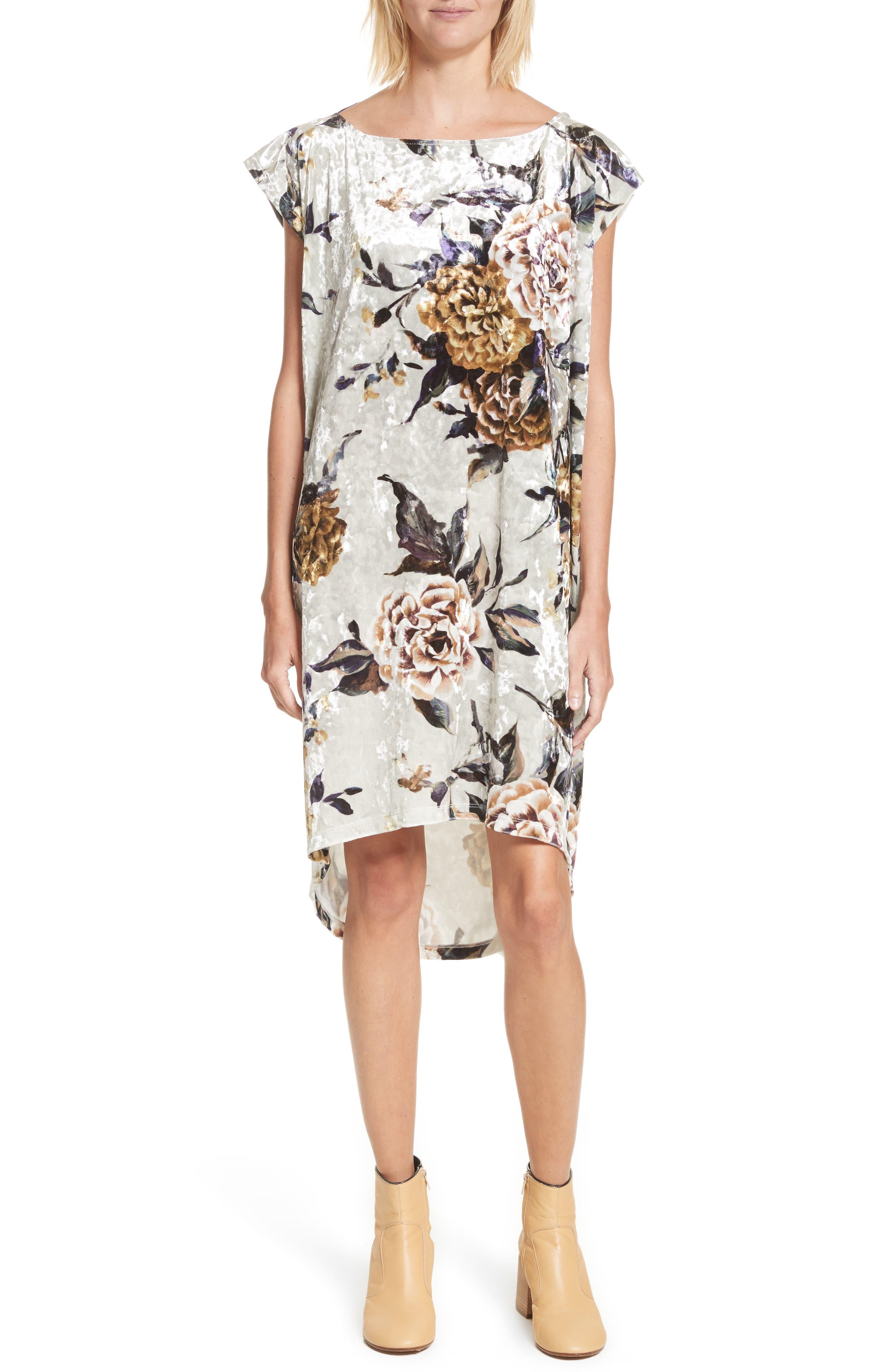 Floral Print Velvet Dress,                         Main,                         color, 087