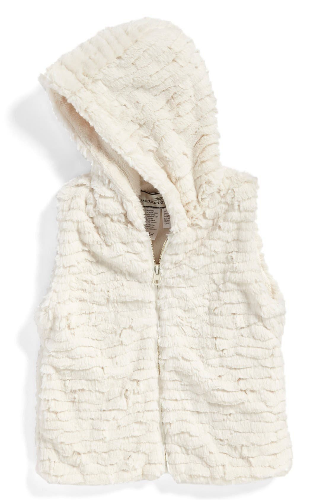 Hooded Faux Fur Vest,                             Main thumbnail 6, color,