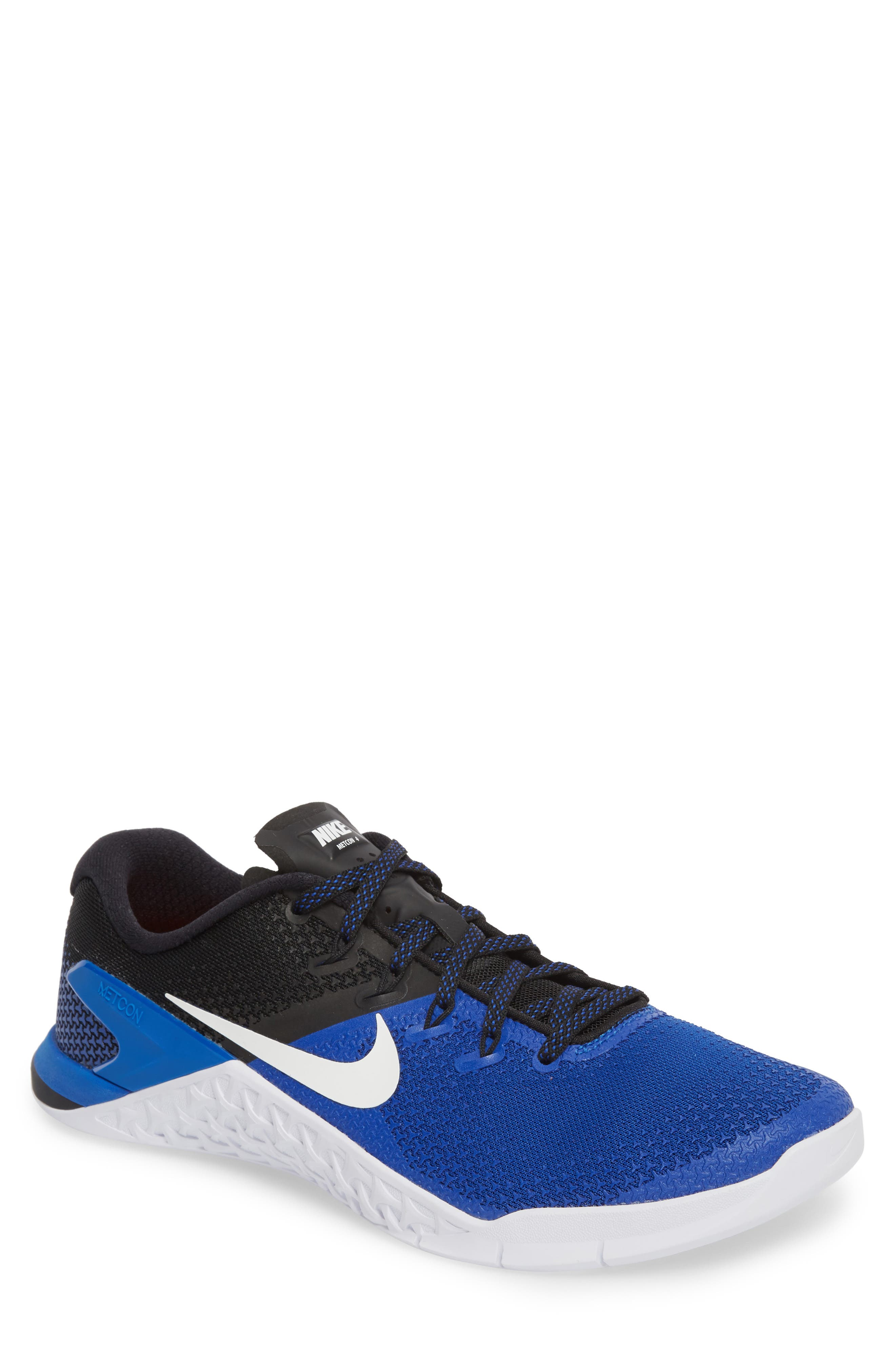 Metcon 4 Training Shoe,                         Main,                         color, GAME ROYAL/ WHITE/ BLACK