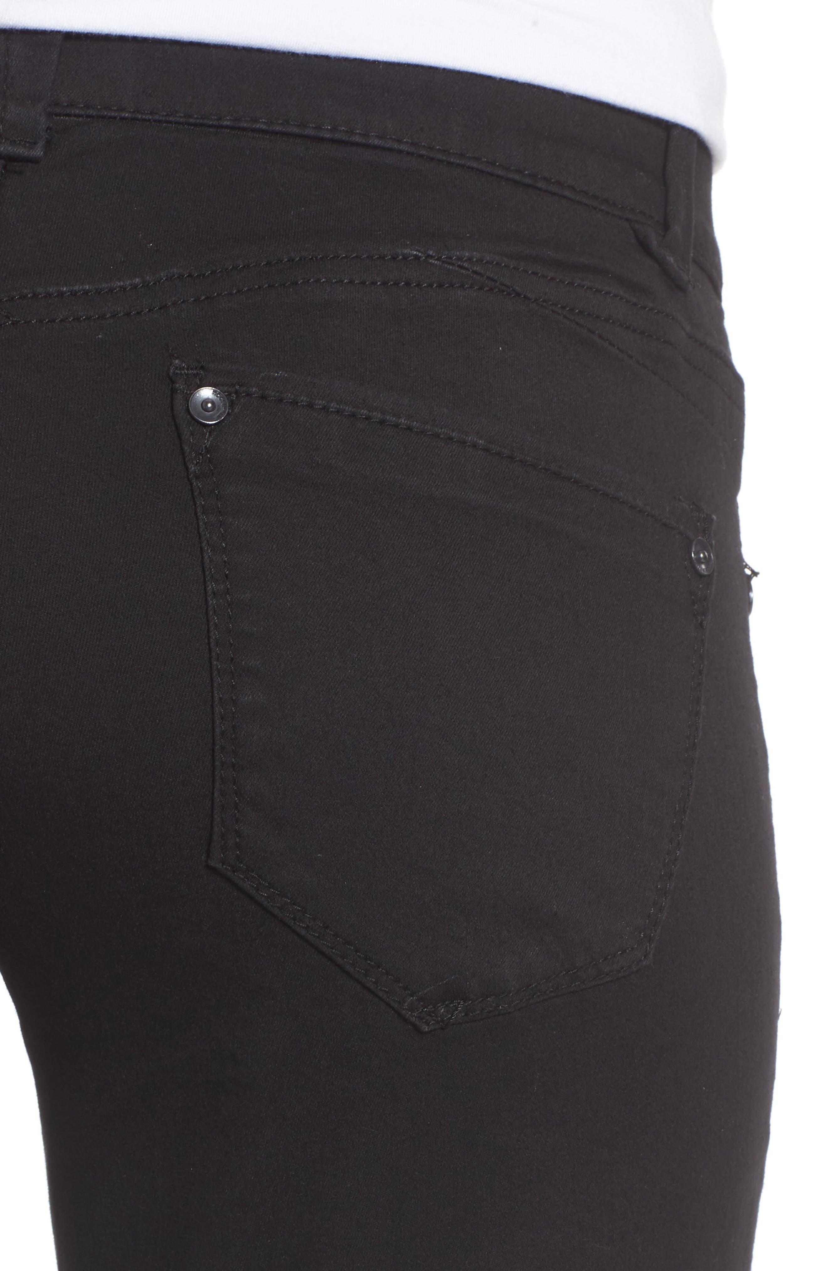 Ab-solution Straight Leg Jeans,                             Alternate thumbnail 4, color,                             BLACK