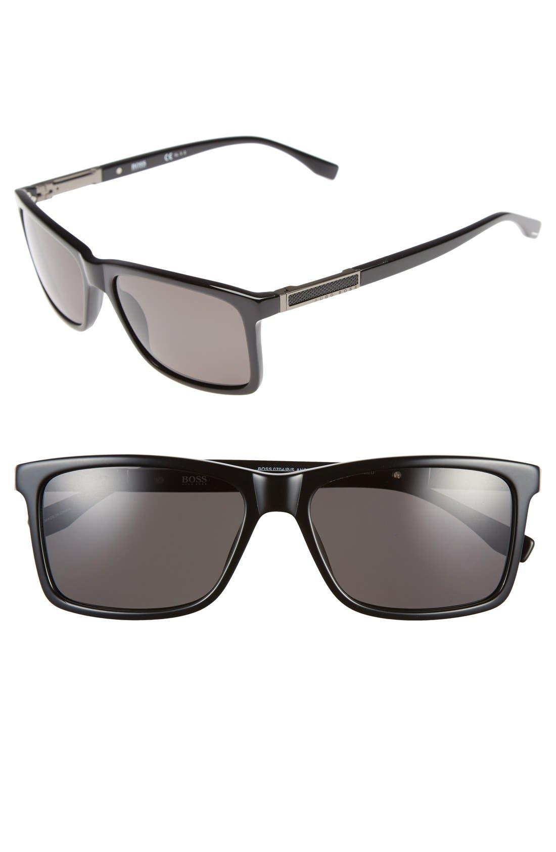 '0704PS' 57mm Polarized Sunglasses,                             Main thumbnail 1, color,                             001