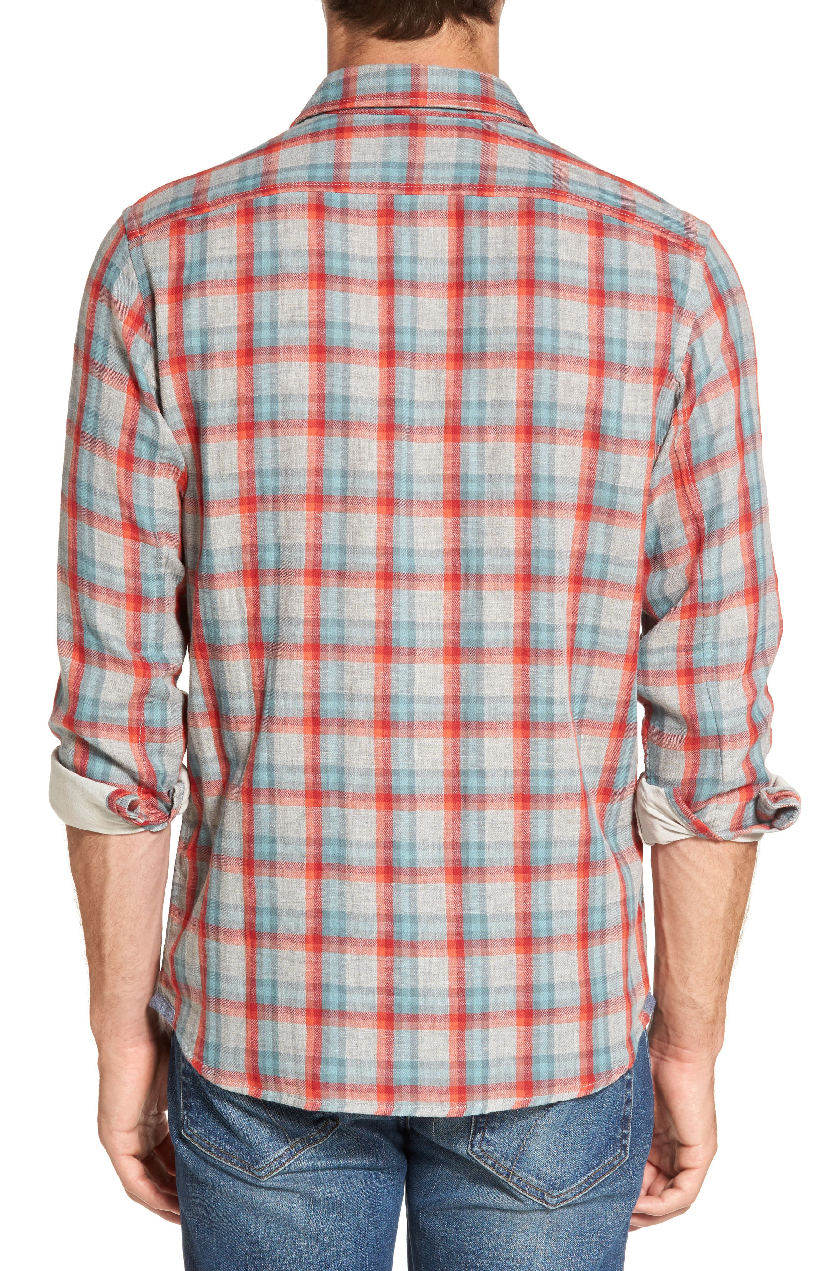 Sherman Modern Fit Double Cloth Windowpane Sport Shirt,                             Alternate thumbnail 2, color,                             640