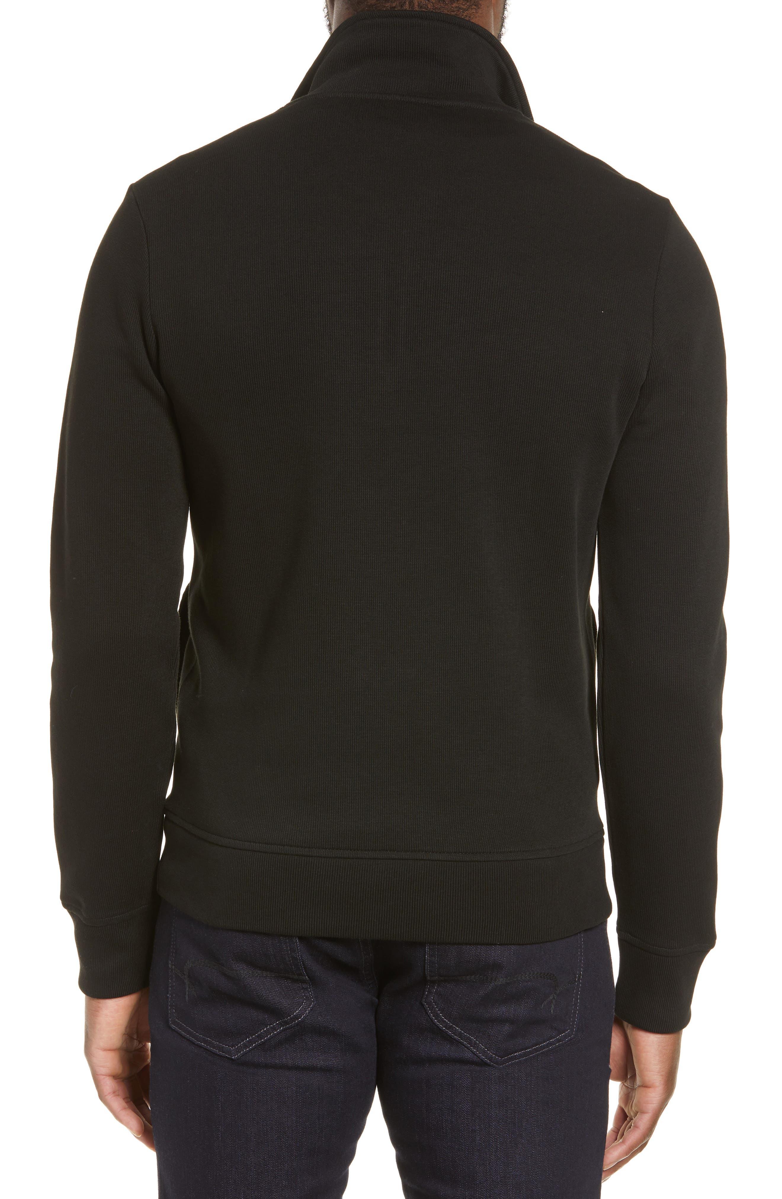 LACOSTE,                             Quarter Zip Pullover,                             Alternate thumbnail 2, color,                             BLACK/ NAVY BLUE