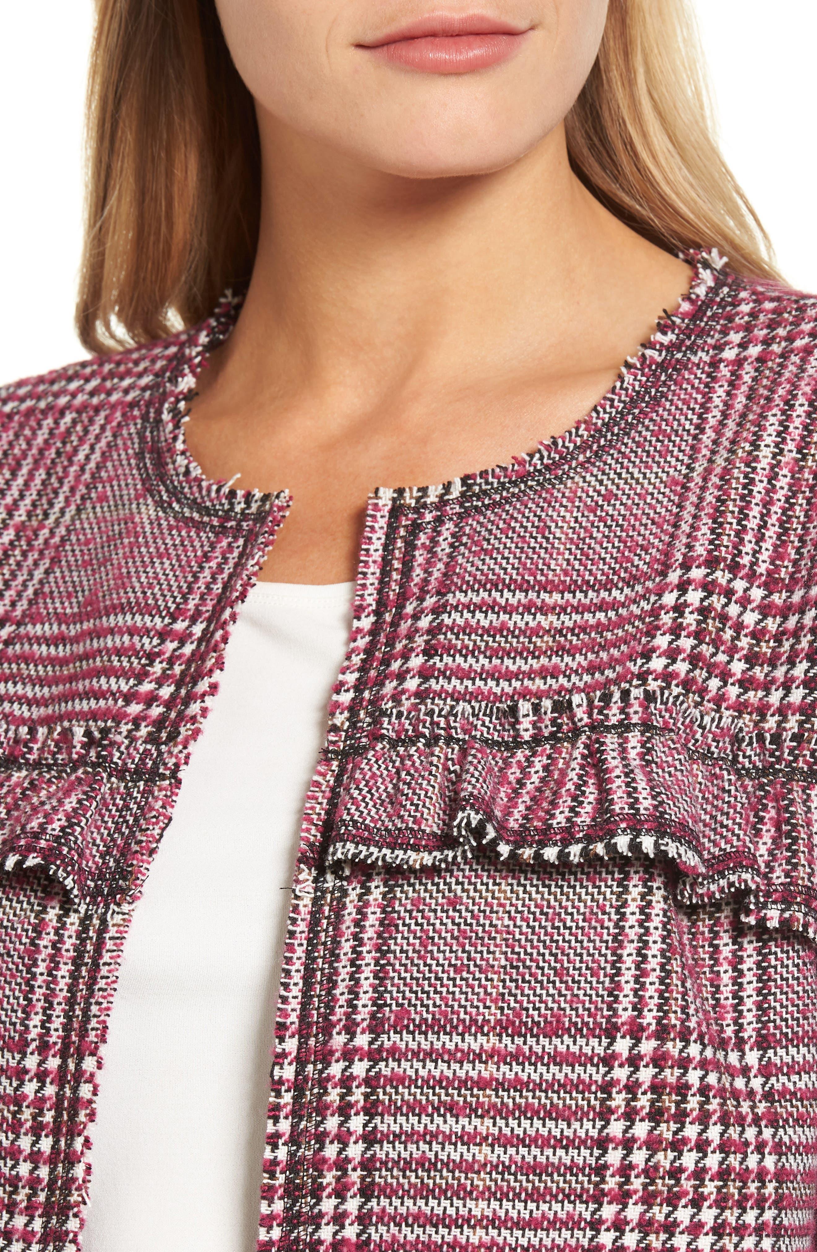 Ruffle Plaid Jacket,                             Alternate thumbnail 8, color,