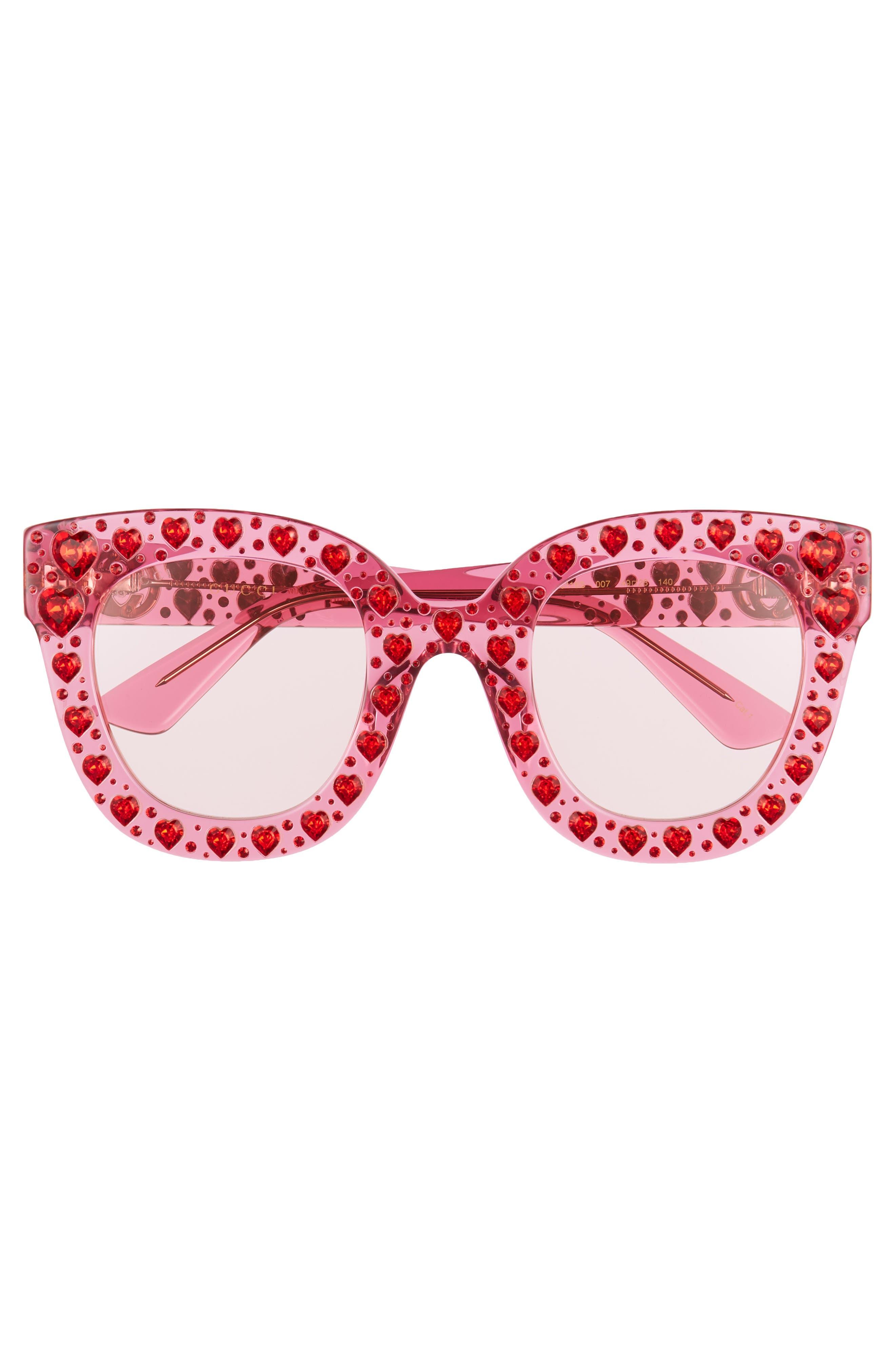 49mm Crystal Heart Sunglasses,                             Alternate thumbnail 3, color,                             FUCHSIA