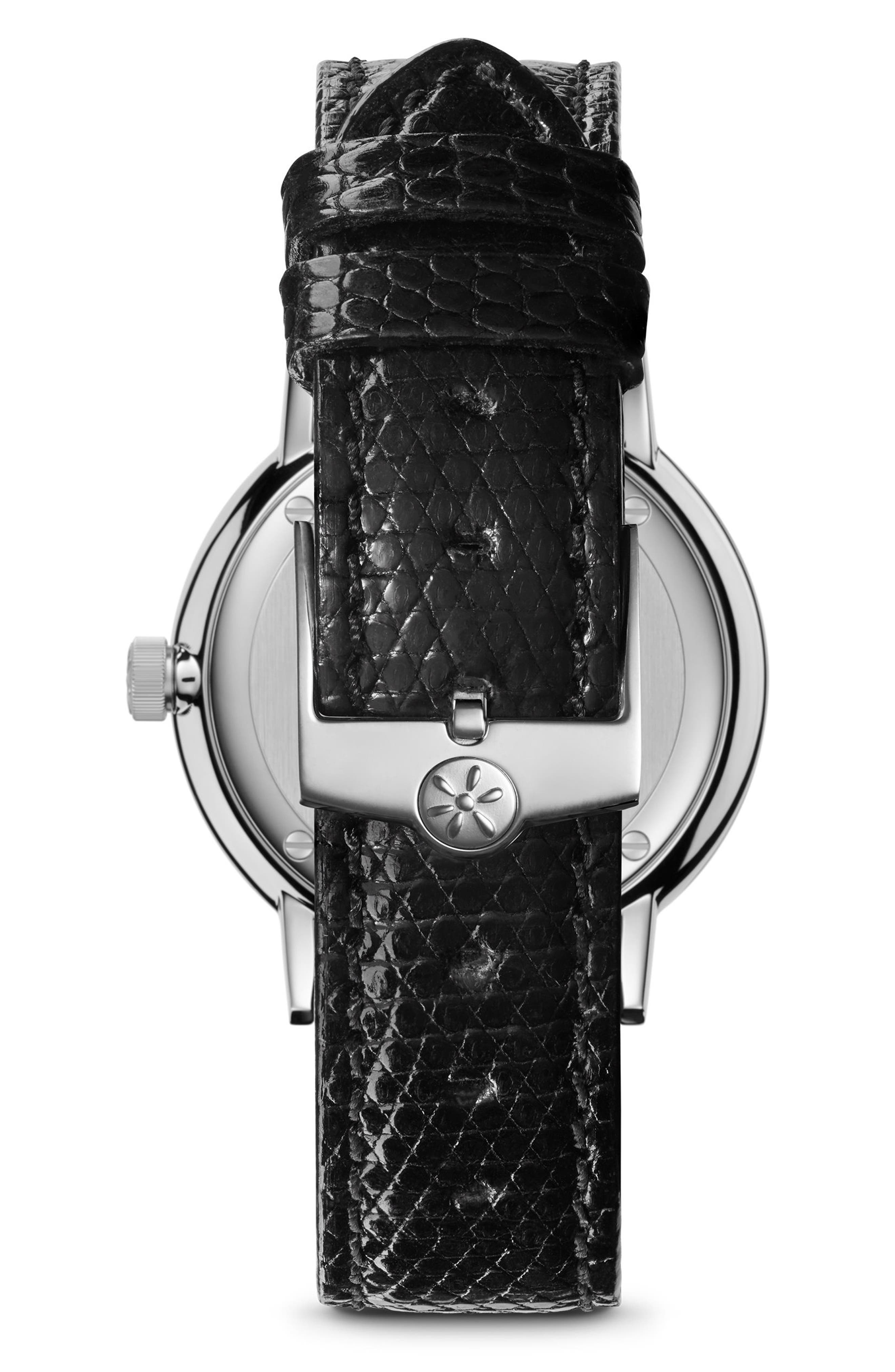 The Agnes Varis Lizard Strap Watch, 32mm,                             Alternate thumbnail 2, color,                             BLACK/ OFF WHITE/ SILVER