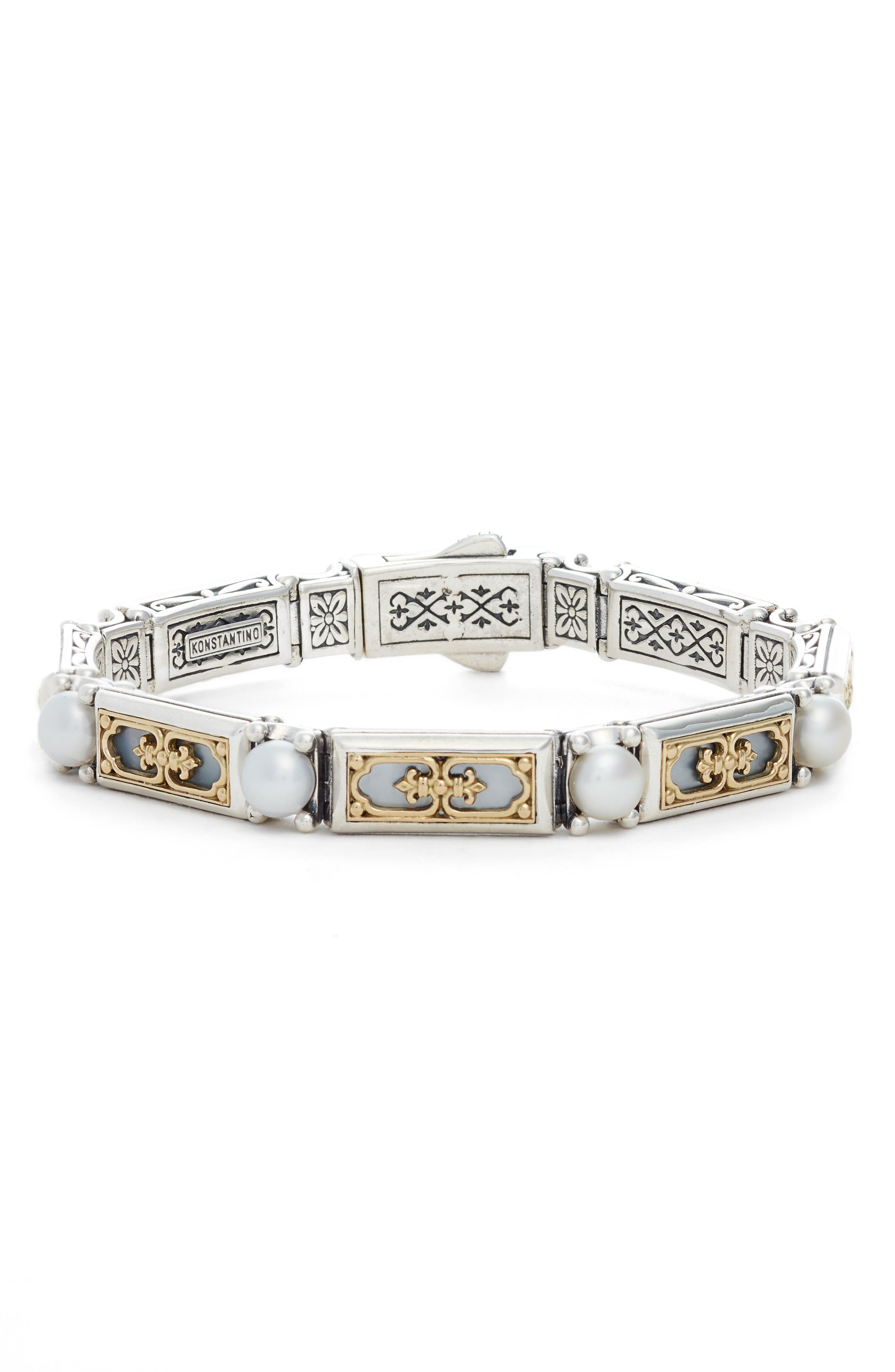 Etched Silver & Gold Link Bracelet with Genuine Pearl,                             Main thumbnail 1, color,                             SILVER/ GOLD/ WHITE
