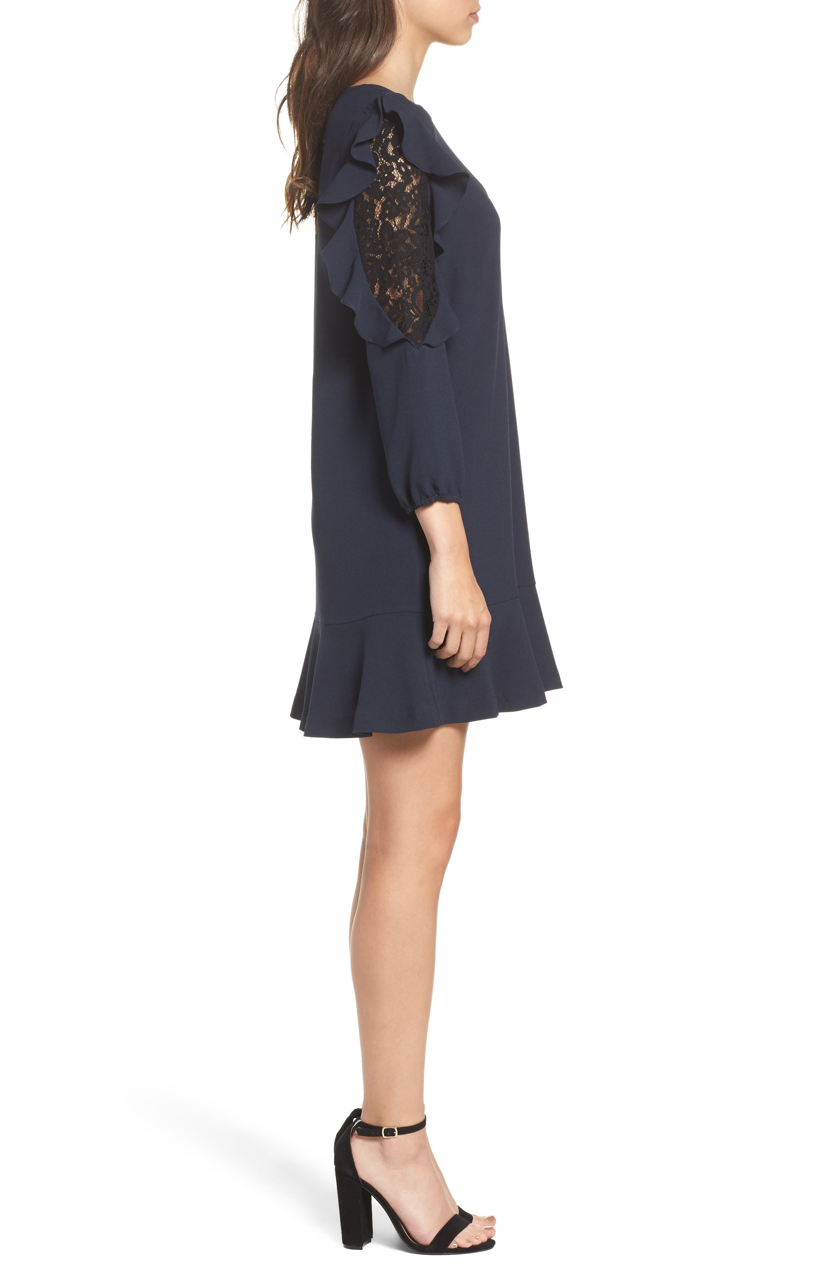 Stefani Ruffle Lace Dress,                             Alternate thumbnail 3, color,
