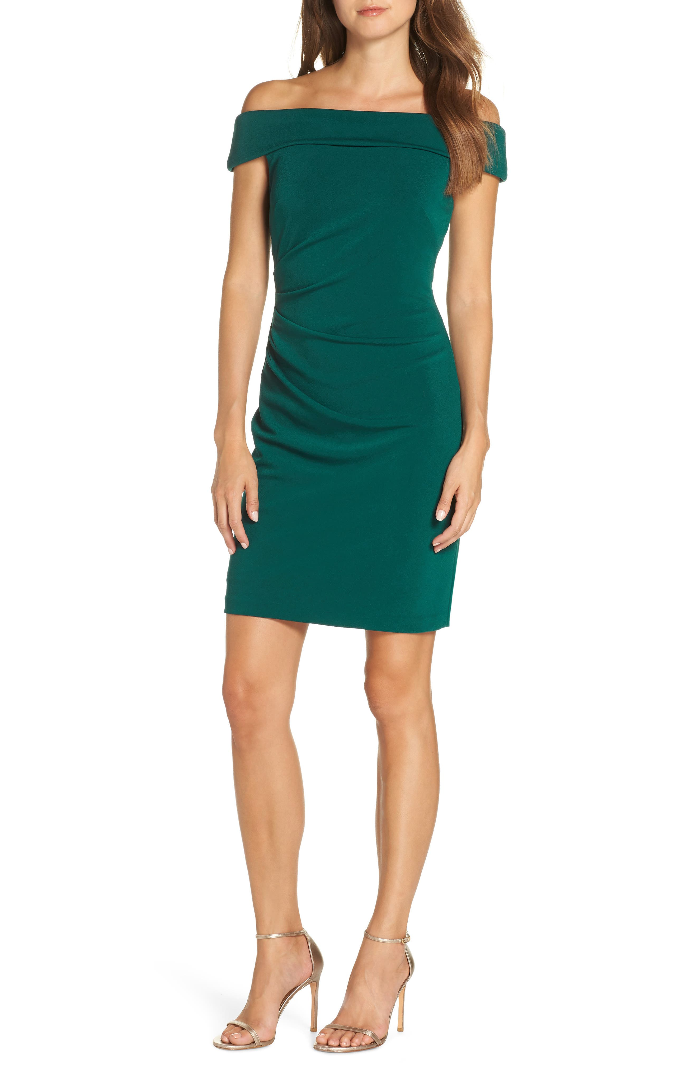 Vince Camuto Off The Shoulder Sheath Dress, Green
