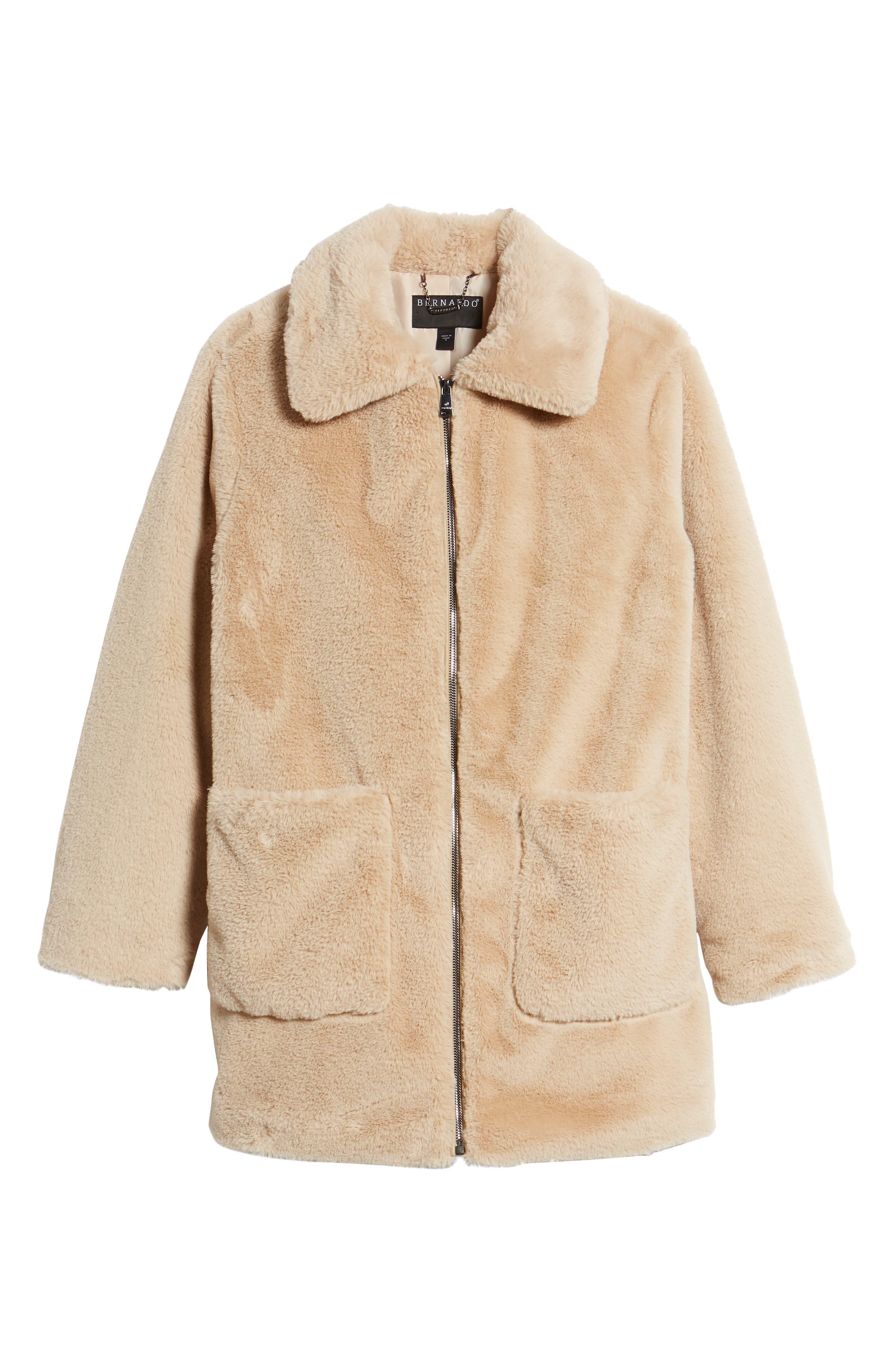 Faux Fur Coat,                             Alternate thumbnail 6, color,                             BLUSH BEIGE