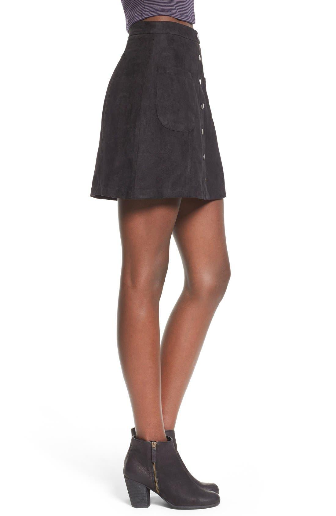 Button Front Faux Suede Skirt,                             Alternate thumbnail 3, color,                             001