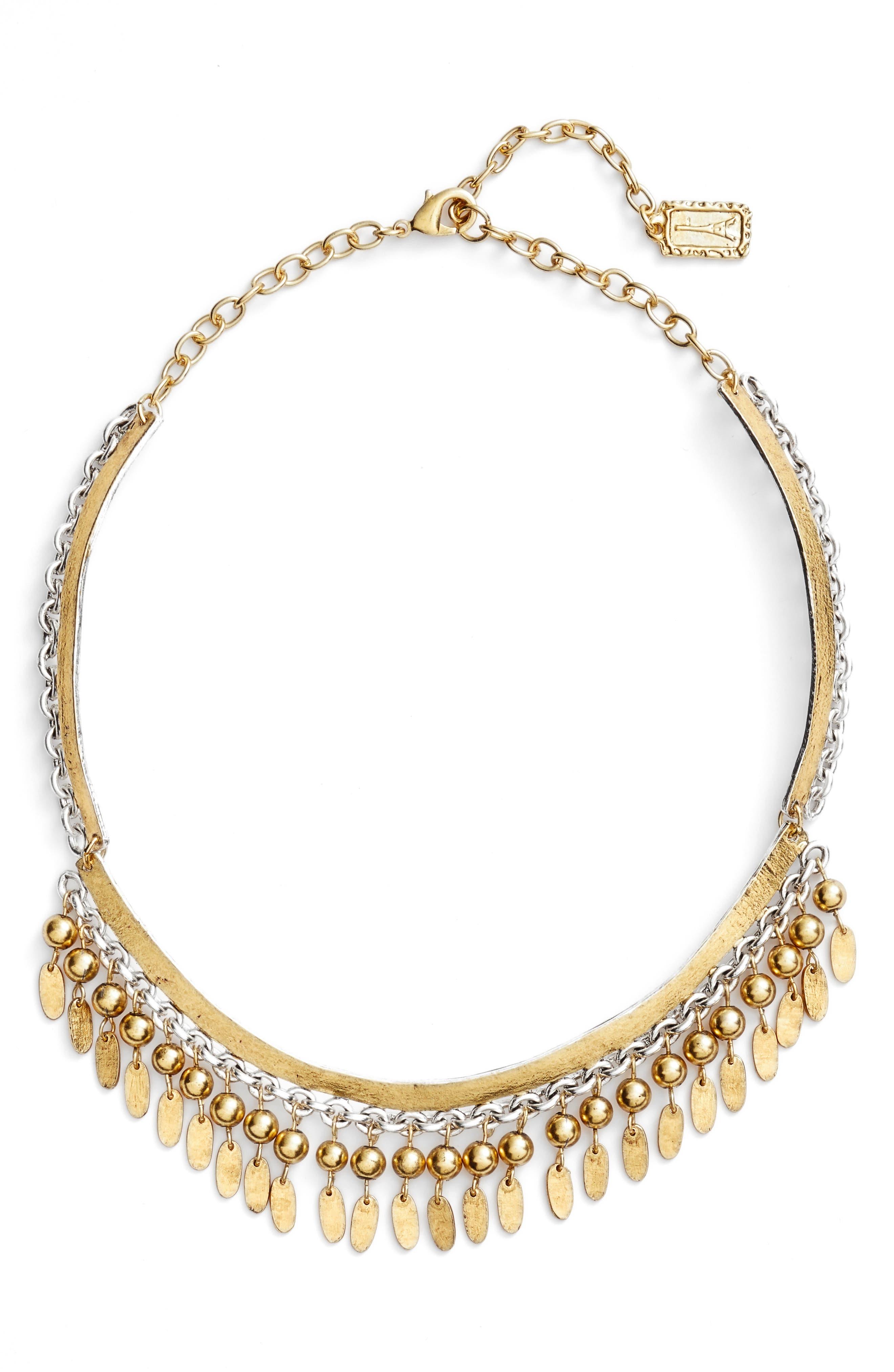 KARINE SULTAN Fringe Collar Necklace, Main, color, GOLD/SILVER MIX