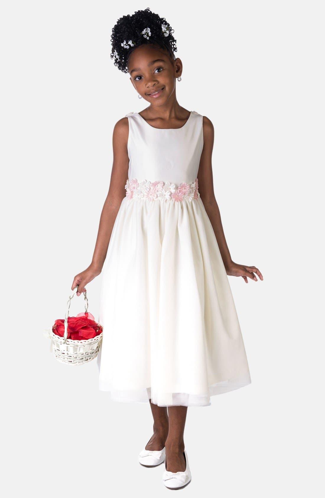 Flower Satin Dress,                         Main,                         color, IVORY