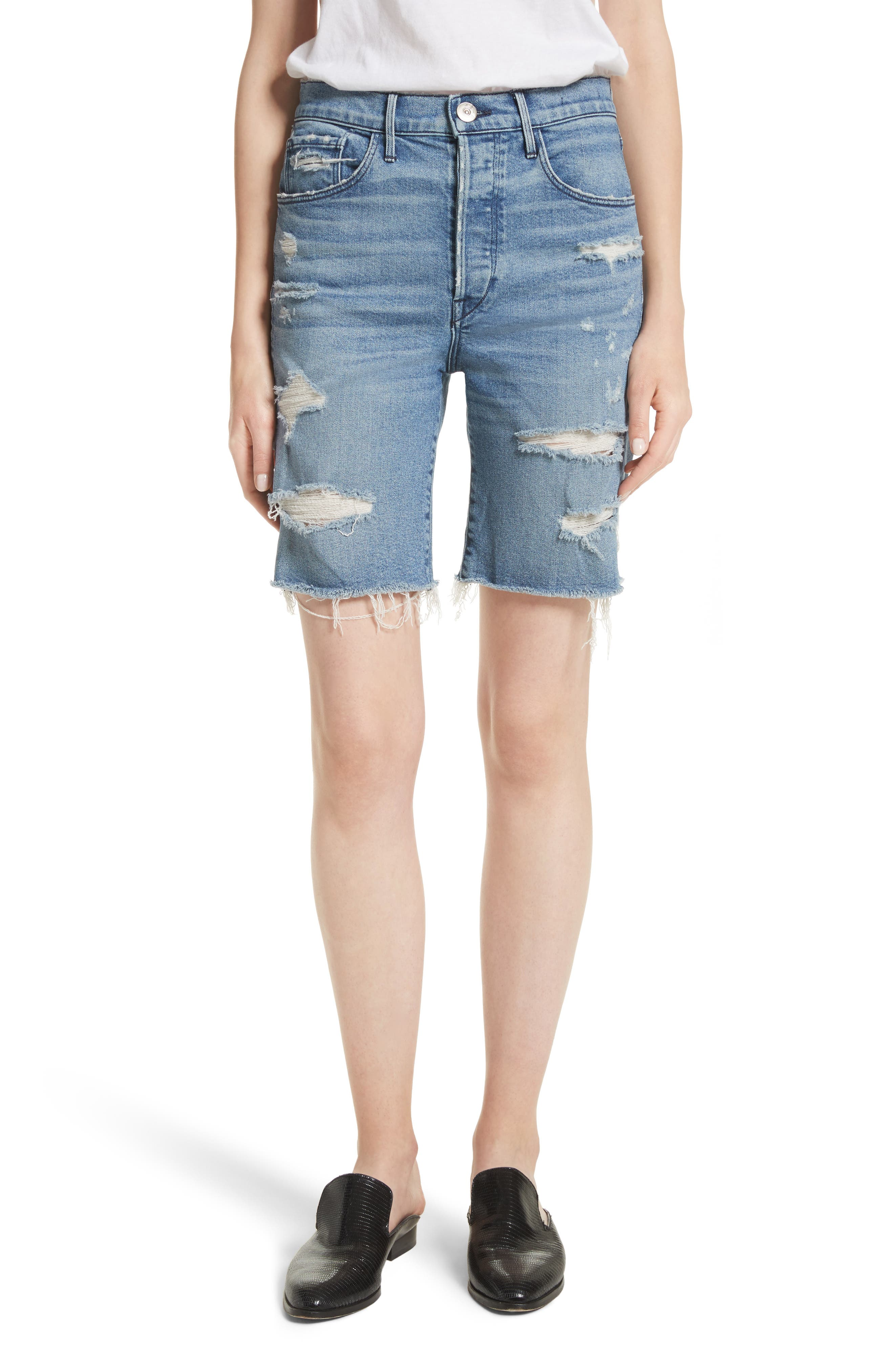 W3 Ryder Ripped Denim Shorts,                         Main,                         color,