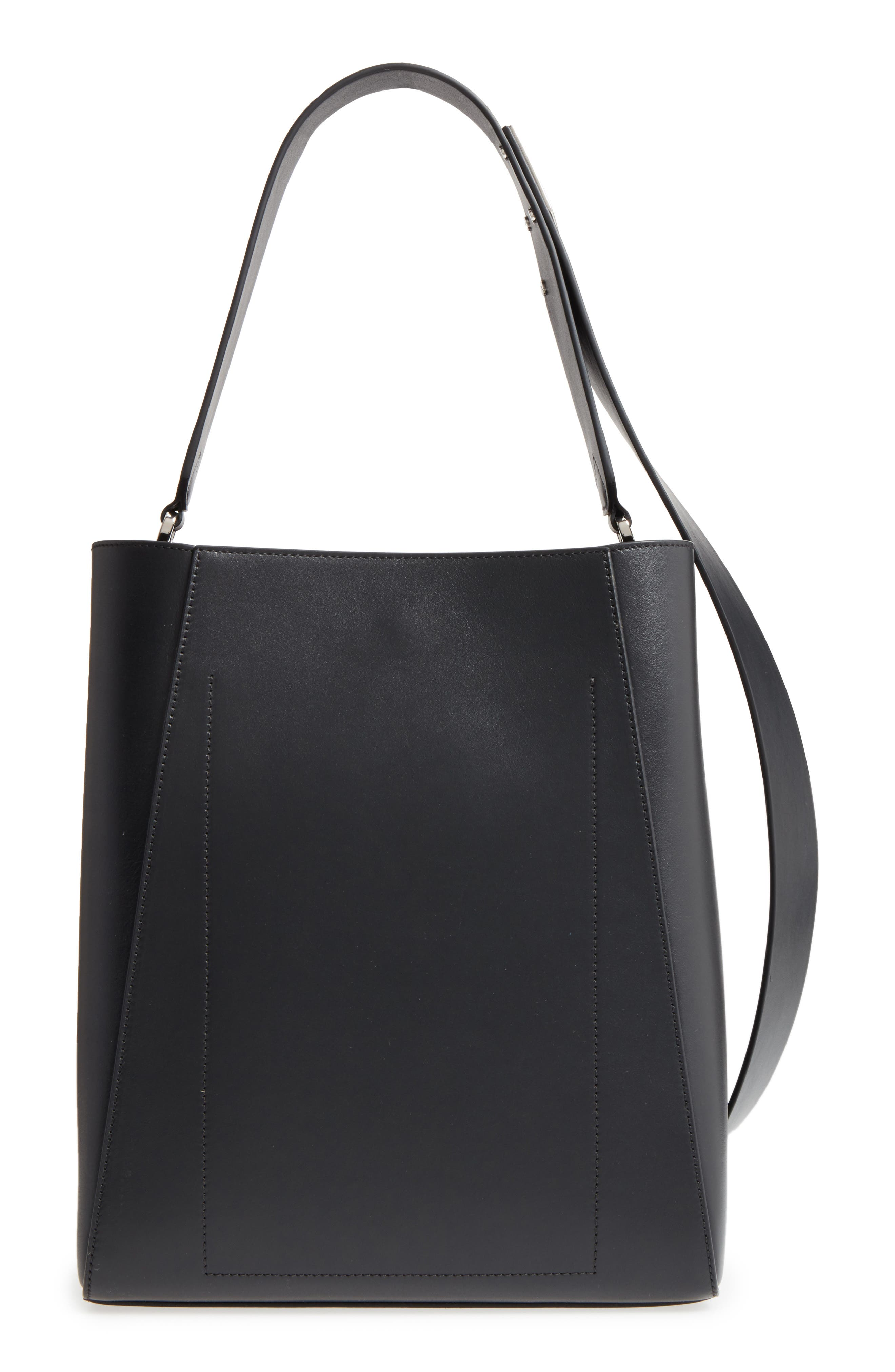 Medium Calfskin Leather Bucket Bag with Removable Pouch,                             Alternate thumbnail 3, color,                             001