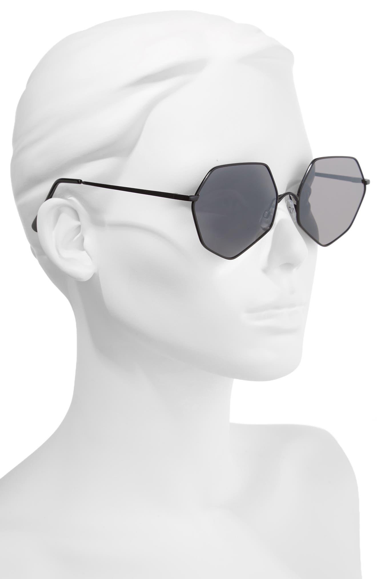 60 mm Geometric Metal Aviator Sunglasses,                             Alternate thumbnail 2, color,                             001