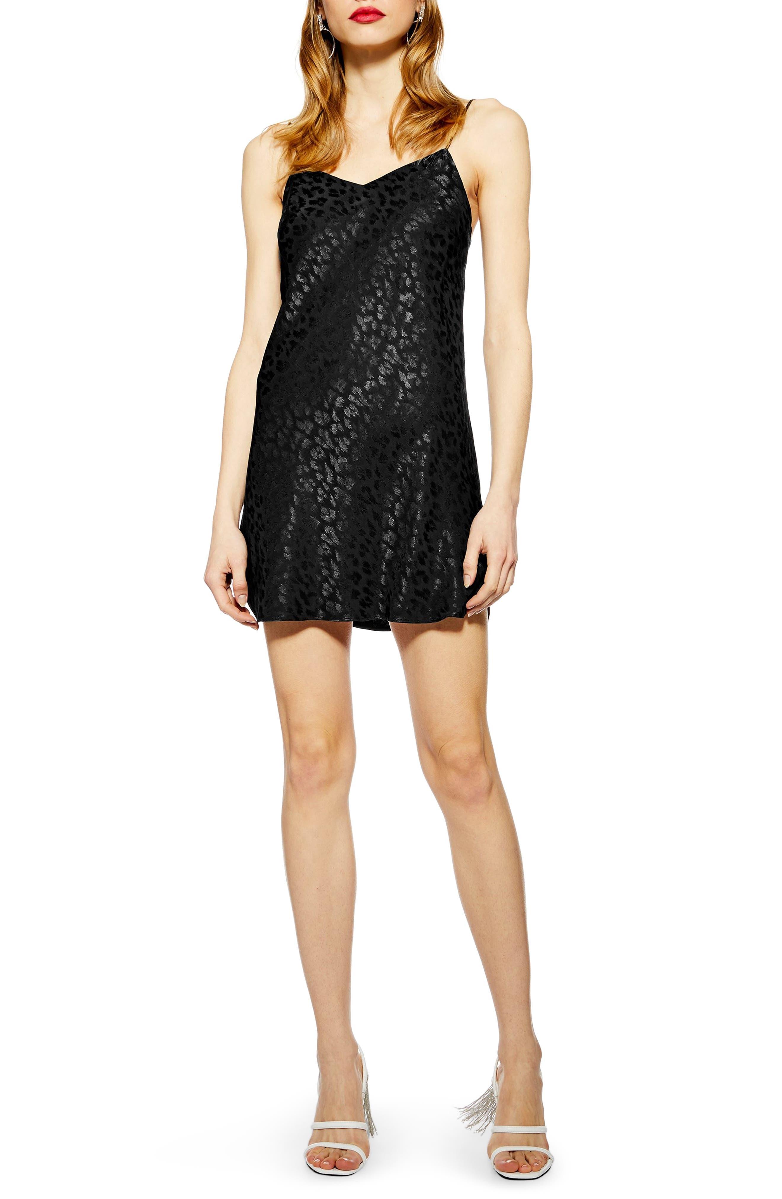 Petite Topshop Jacquard Mini Slipdress, P US (fits like 2-4P) - Black