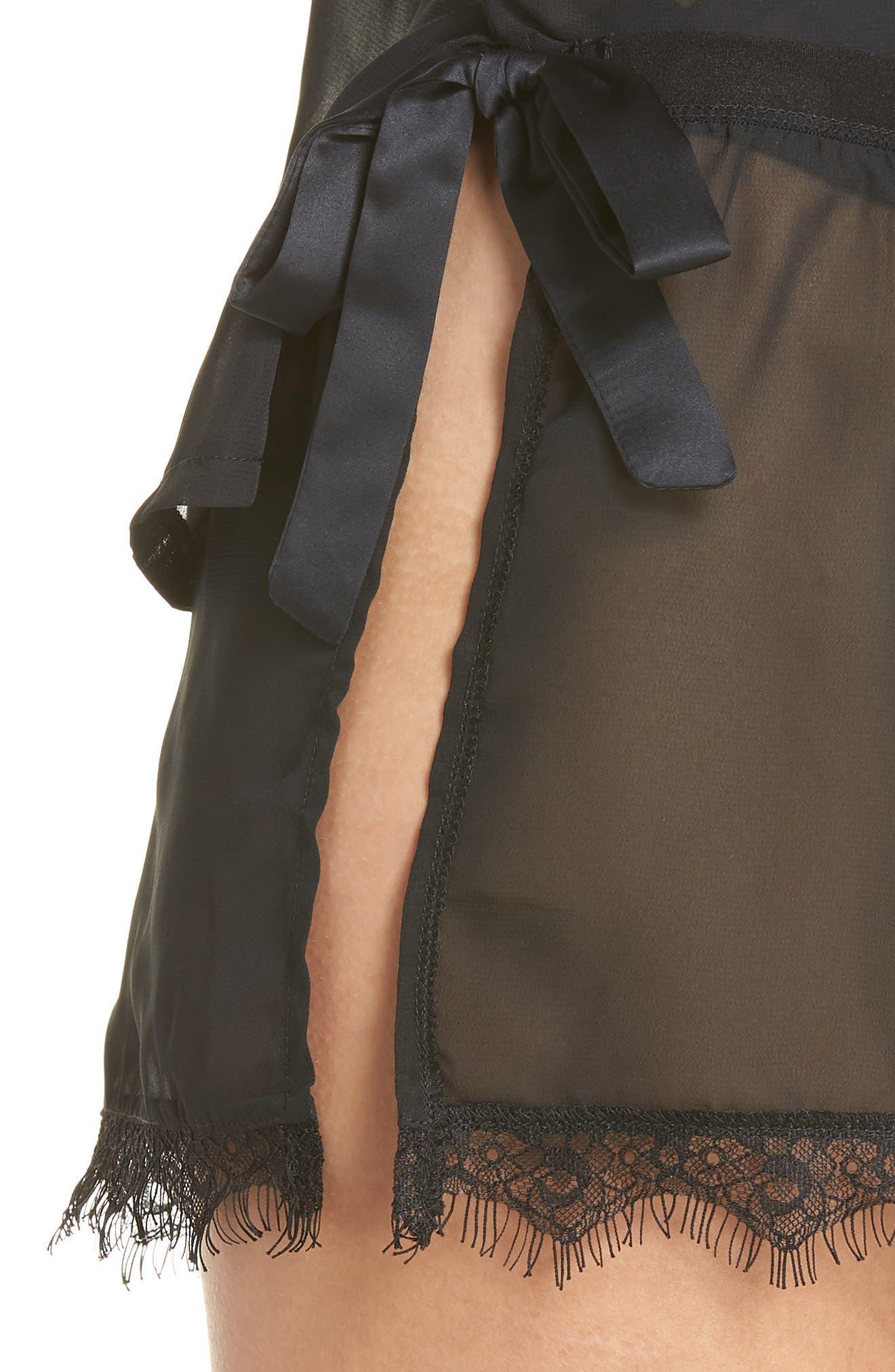Copper Sheer Short Pajamas,                             Alternate thumbnail 4, color,                             BLACK