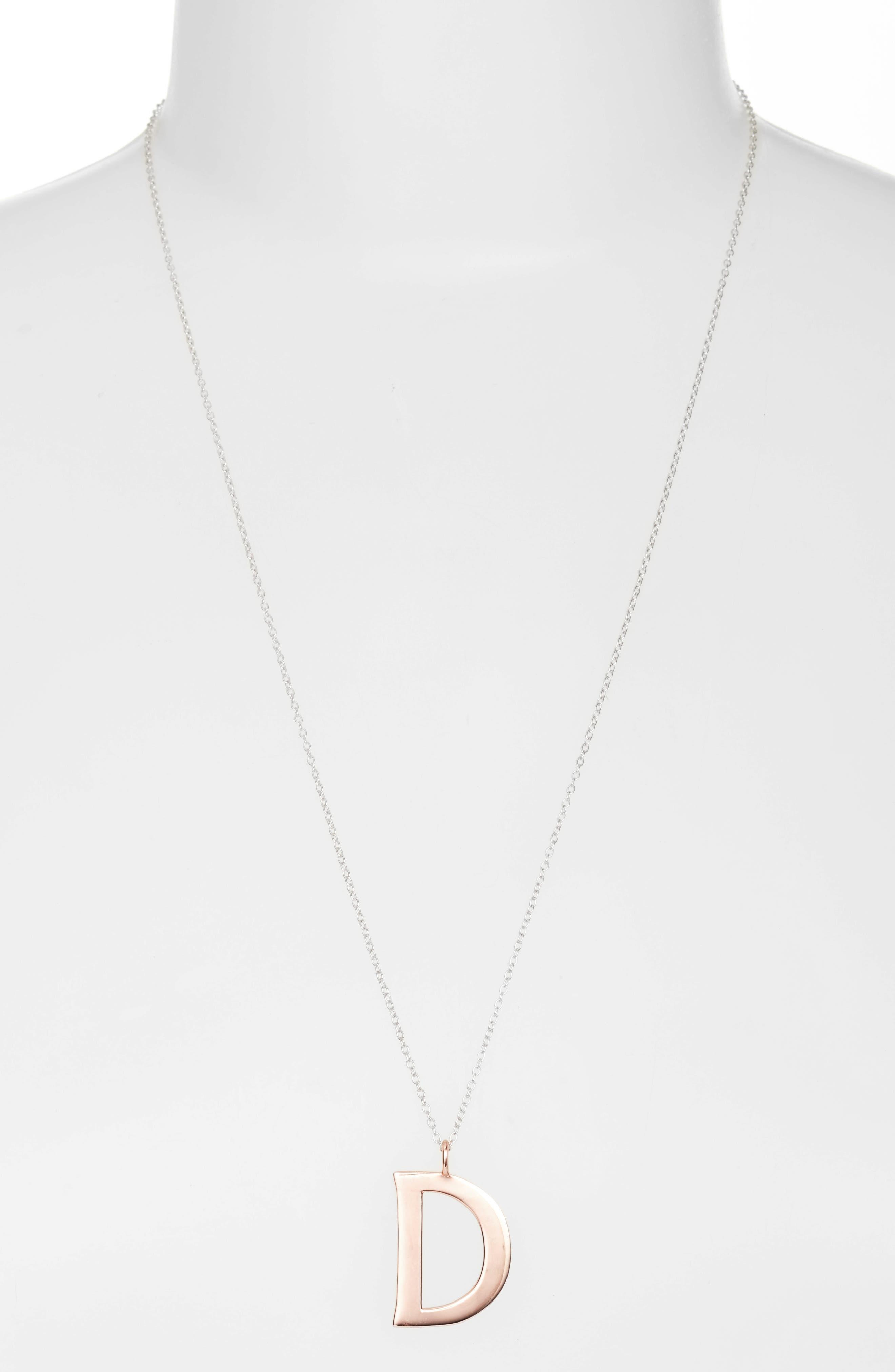 Initial Pendant Necklace,                         Main,                         color, ROSE GOLD / SILVER - D