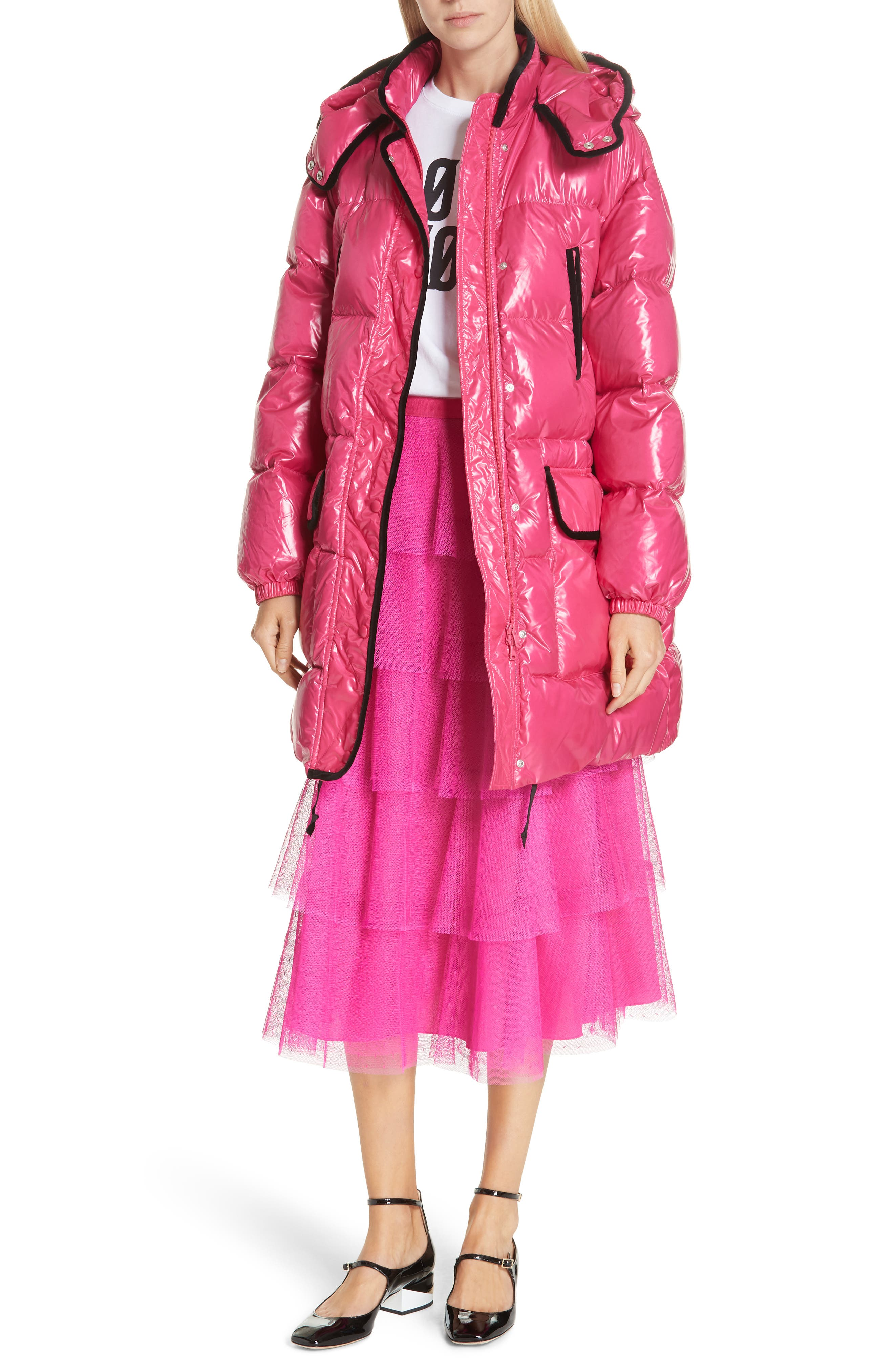 RED VALENTINO,                             Puffer Coat,                             Alternate thumbnail 7, color,                             650