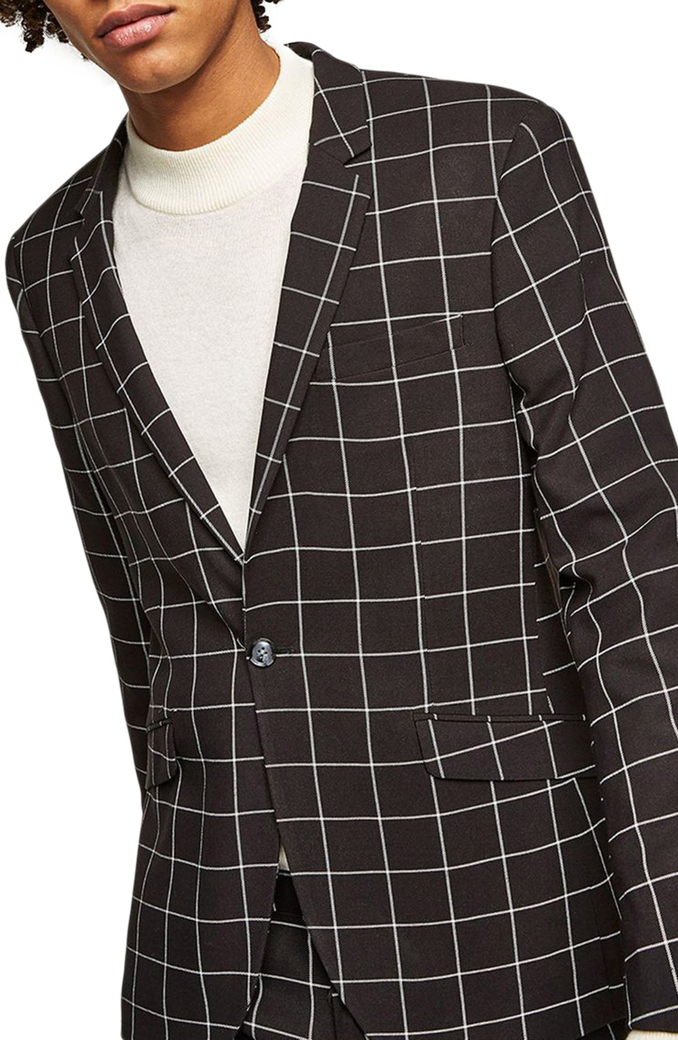 Skinny Fit Windowpane Suit Jacket,                         Main,                         color, BLACK MULTI