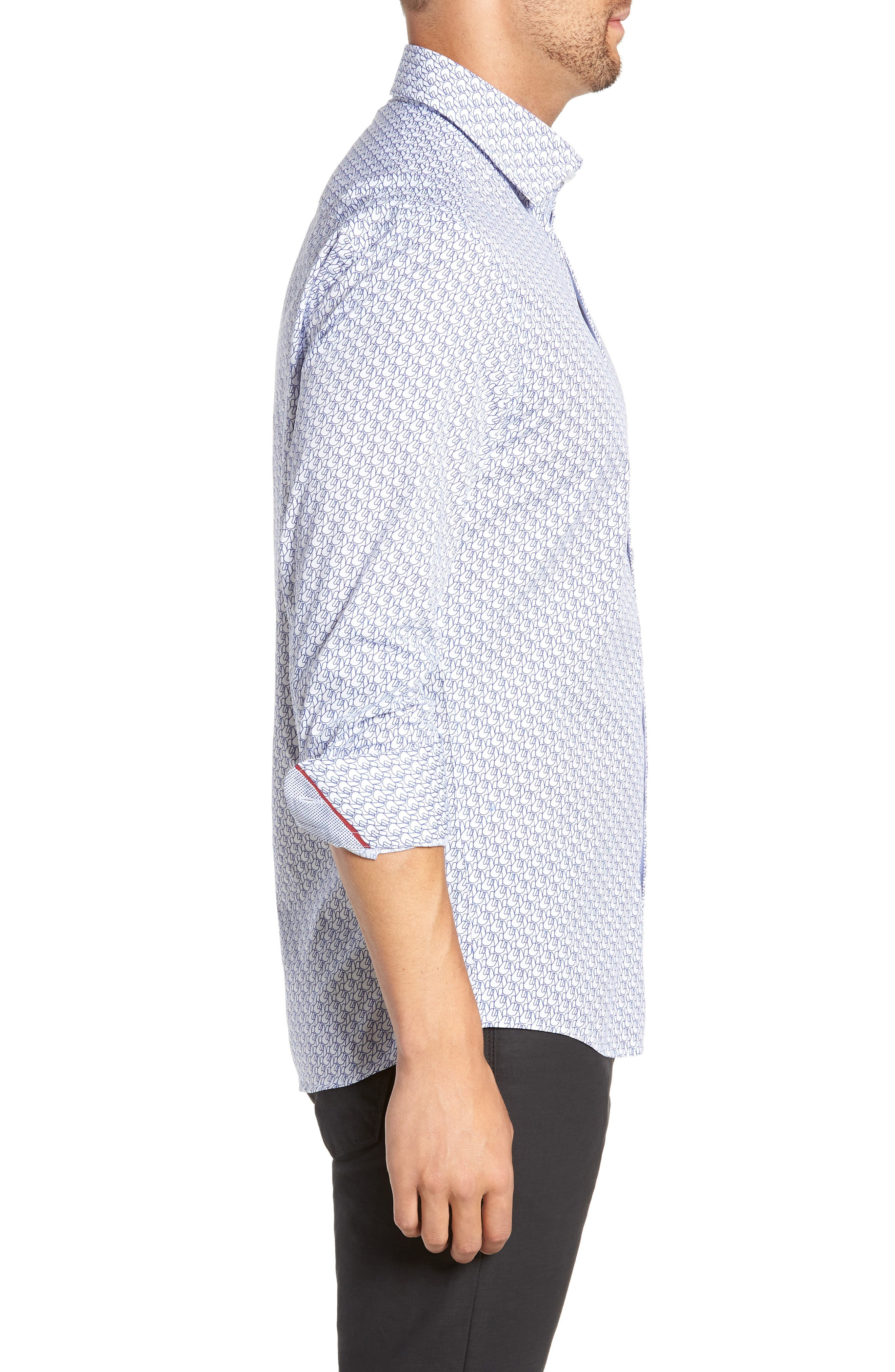 Trim Fit Sport Shirt,                             Alternate thumbnail 4, color,                             WHITE