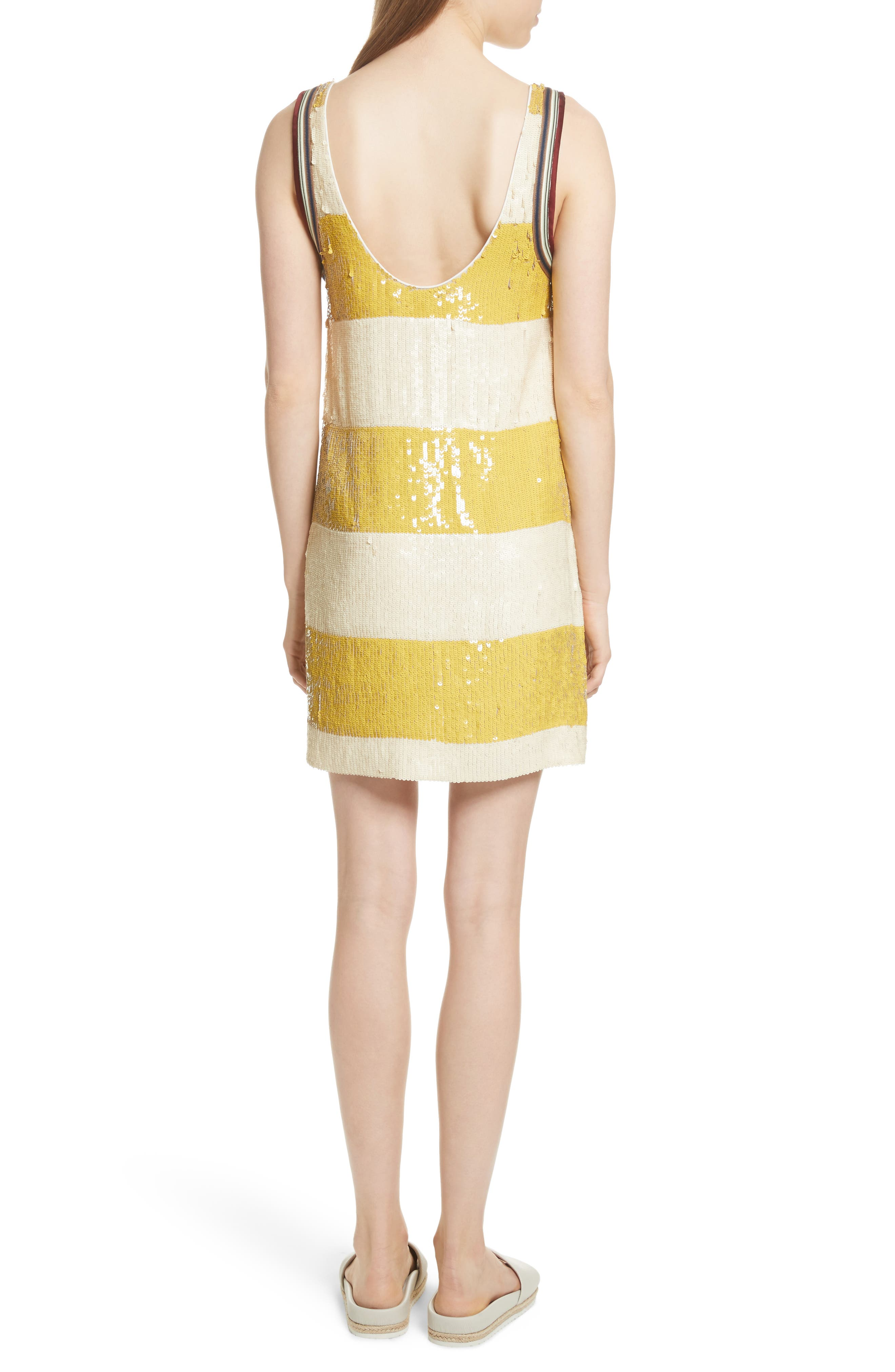 Stripe Sequin Silk Shift Dress,                             Alternate thumbnail 2, color,                             709