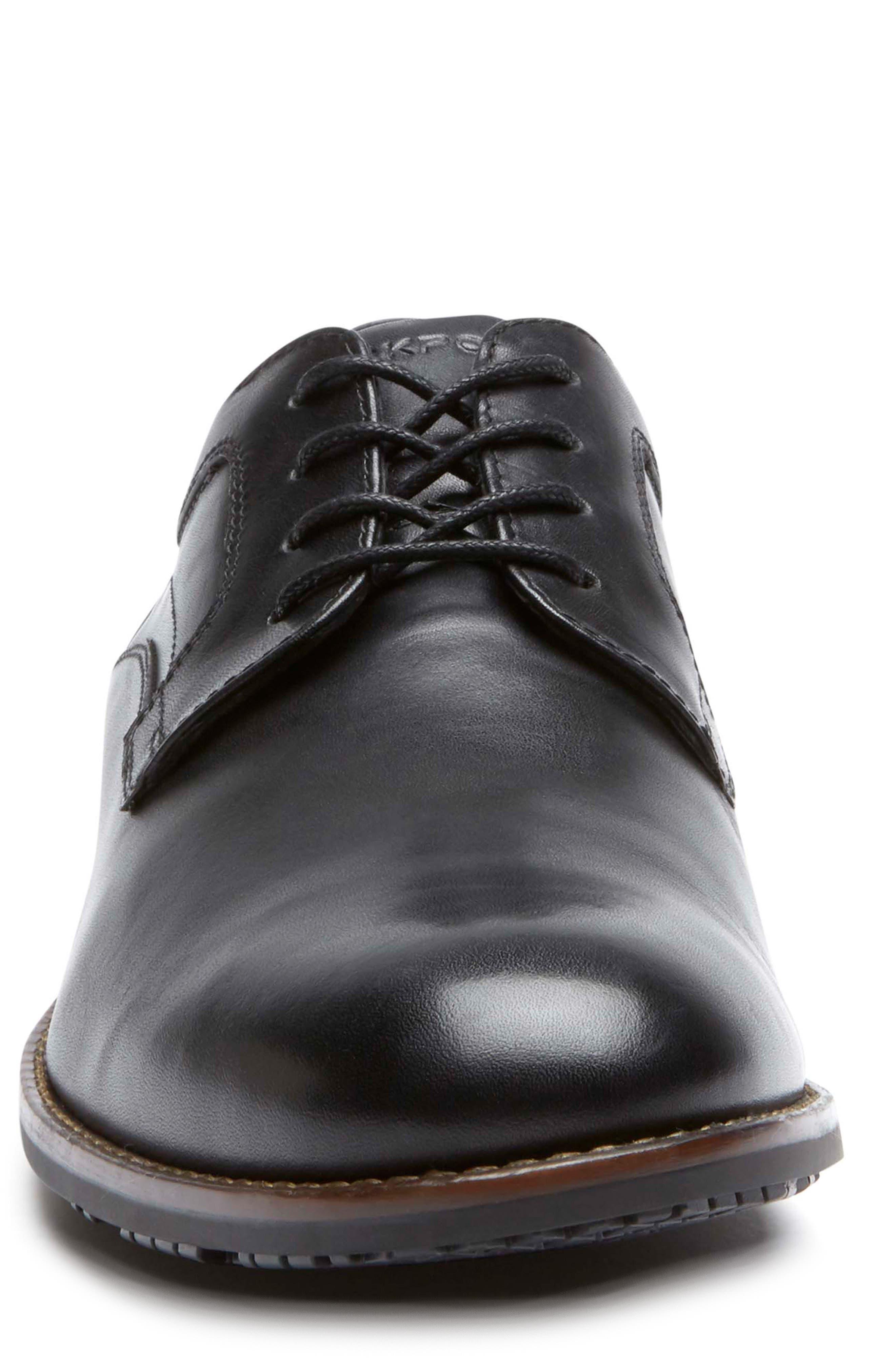 Dustyn Waterproof Plain Toe Derby,                             Alternate thumbnail 4, color,                             BLACK LEATHER