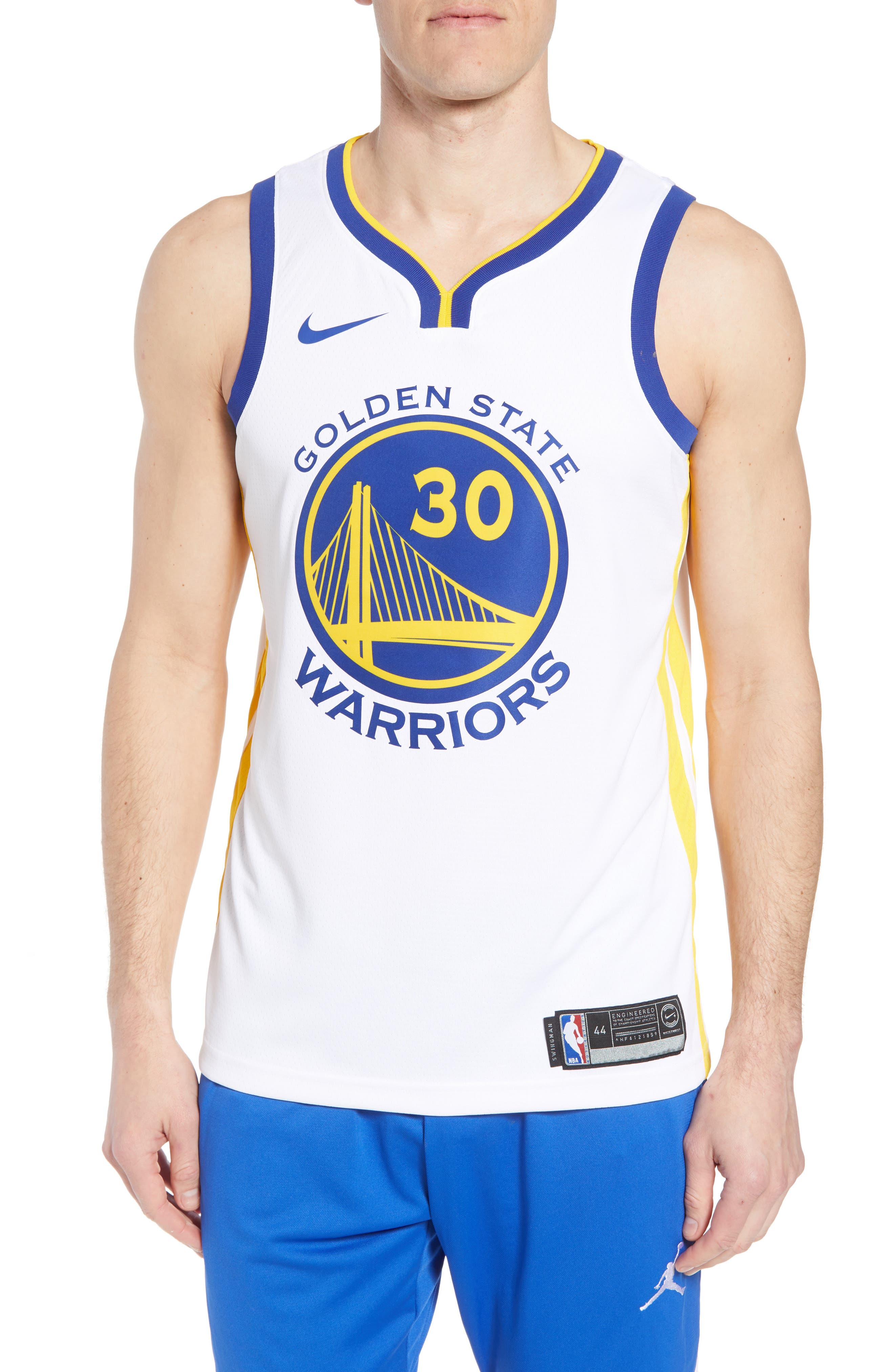 Golden State Warriors - Stephen Curry Association Edition Swingman Jersey,                             Main thumbnail 1, color,                             WHITE/ AMARILLO/ RUSH BLUE