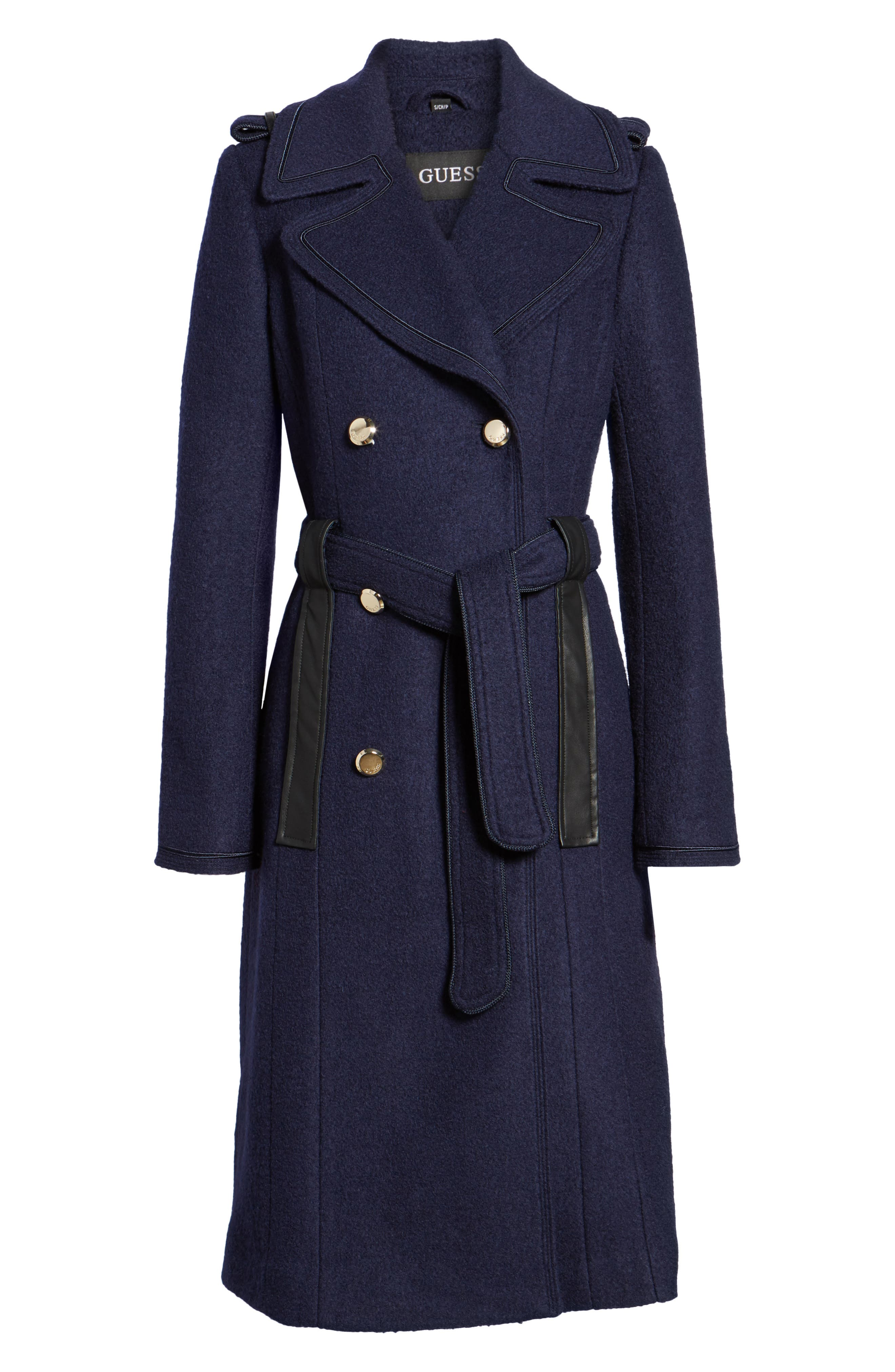 Boiled Wool Trench Coat,                             Alternate thumbnail 5, color,                             410