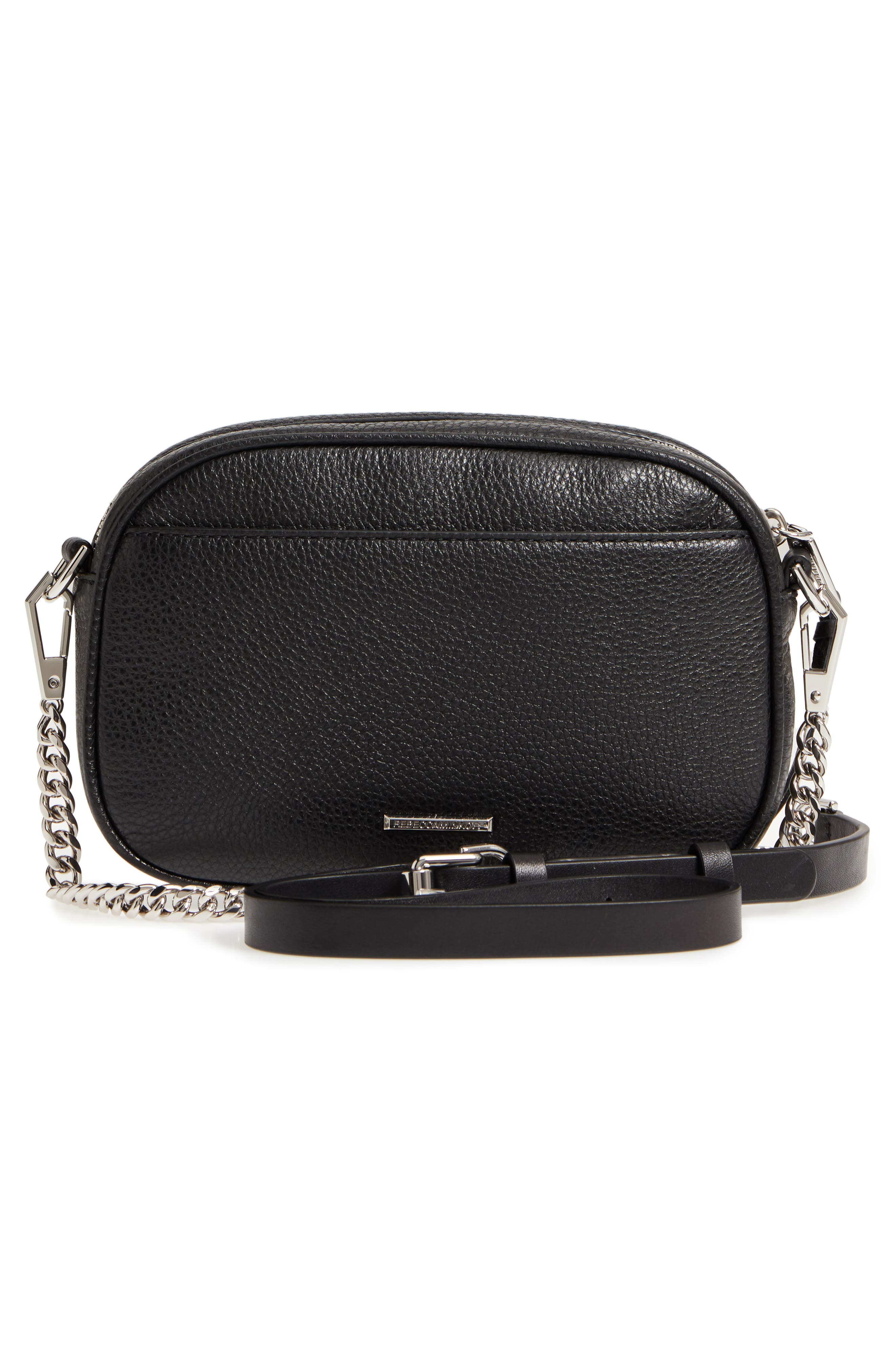 REBECCA MINKOFF,                             Blythe Leather Crossbody Bag,                             Alternate thumbnail 3, color,                             BLACK