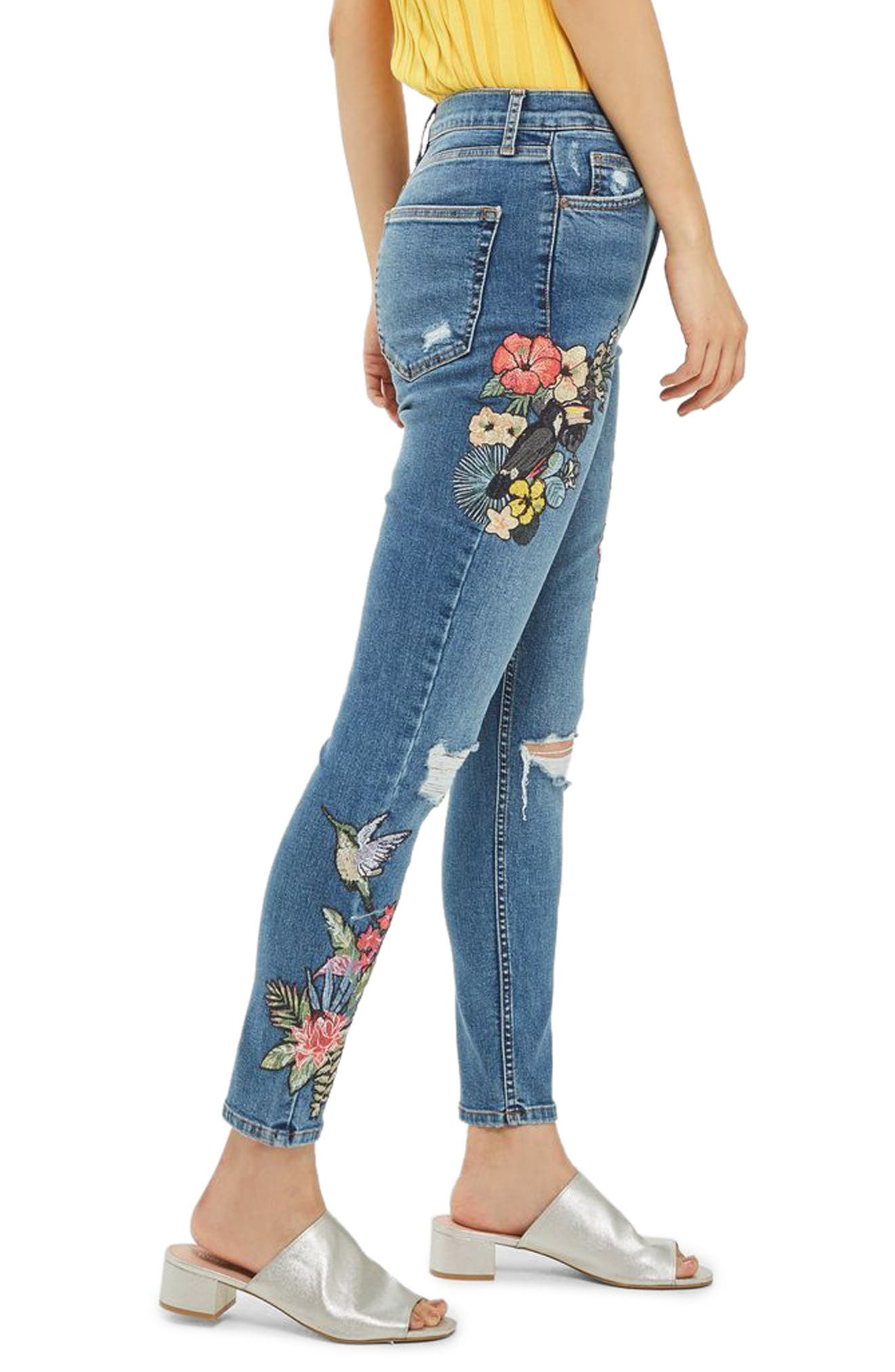 Jamie Embroidered Rip Skinny Jeans,                             Alternate thumbnail 2, color,                             400