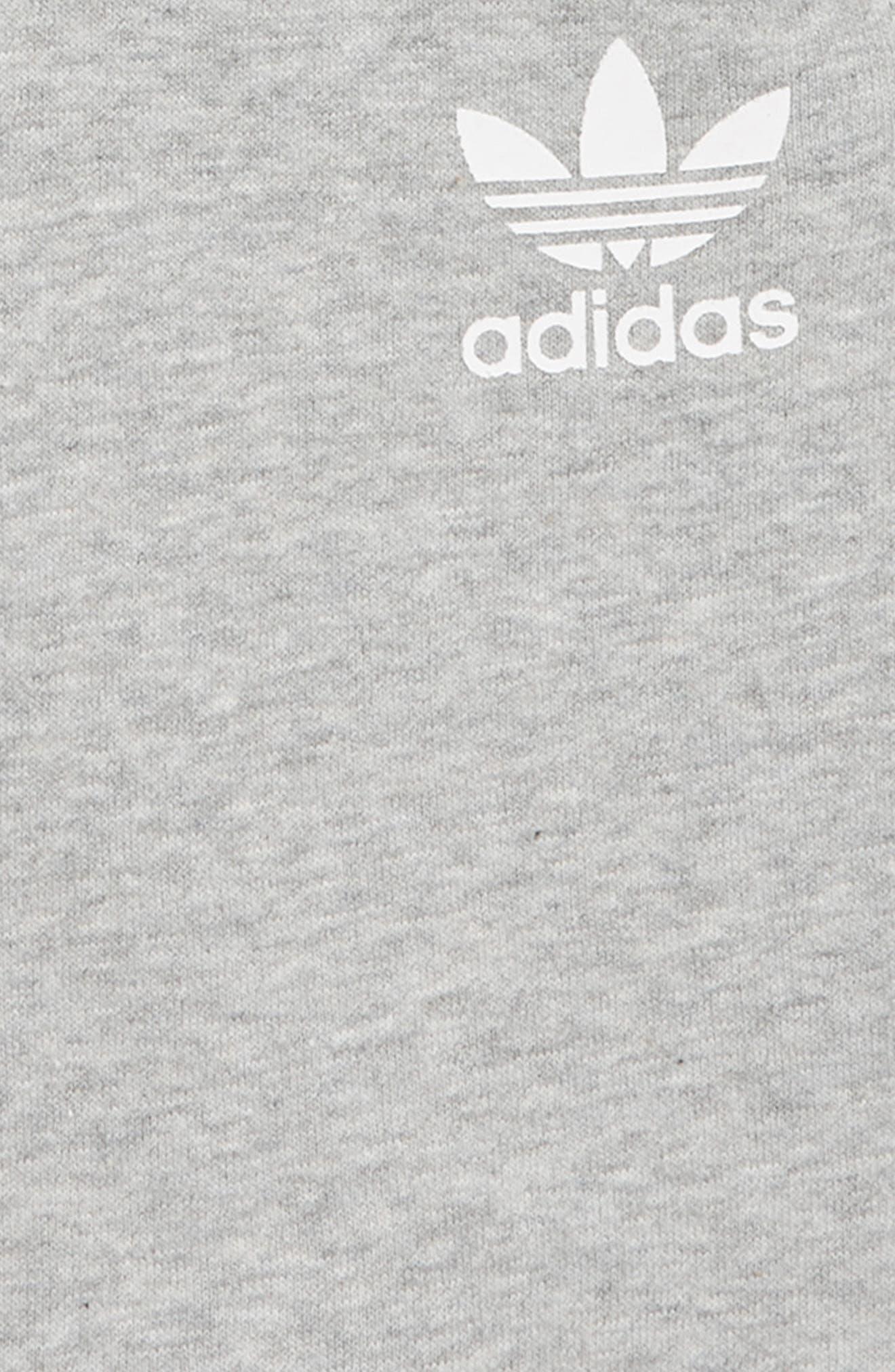 3-Stripes Sweat Shorts,                             Alternate thumbnail 2, color,                             MEDIUM GREY HEATHER/ WHITE