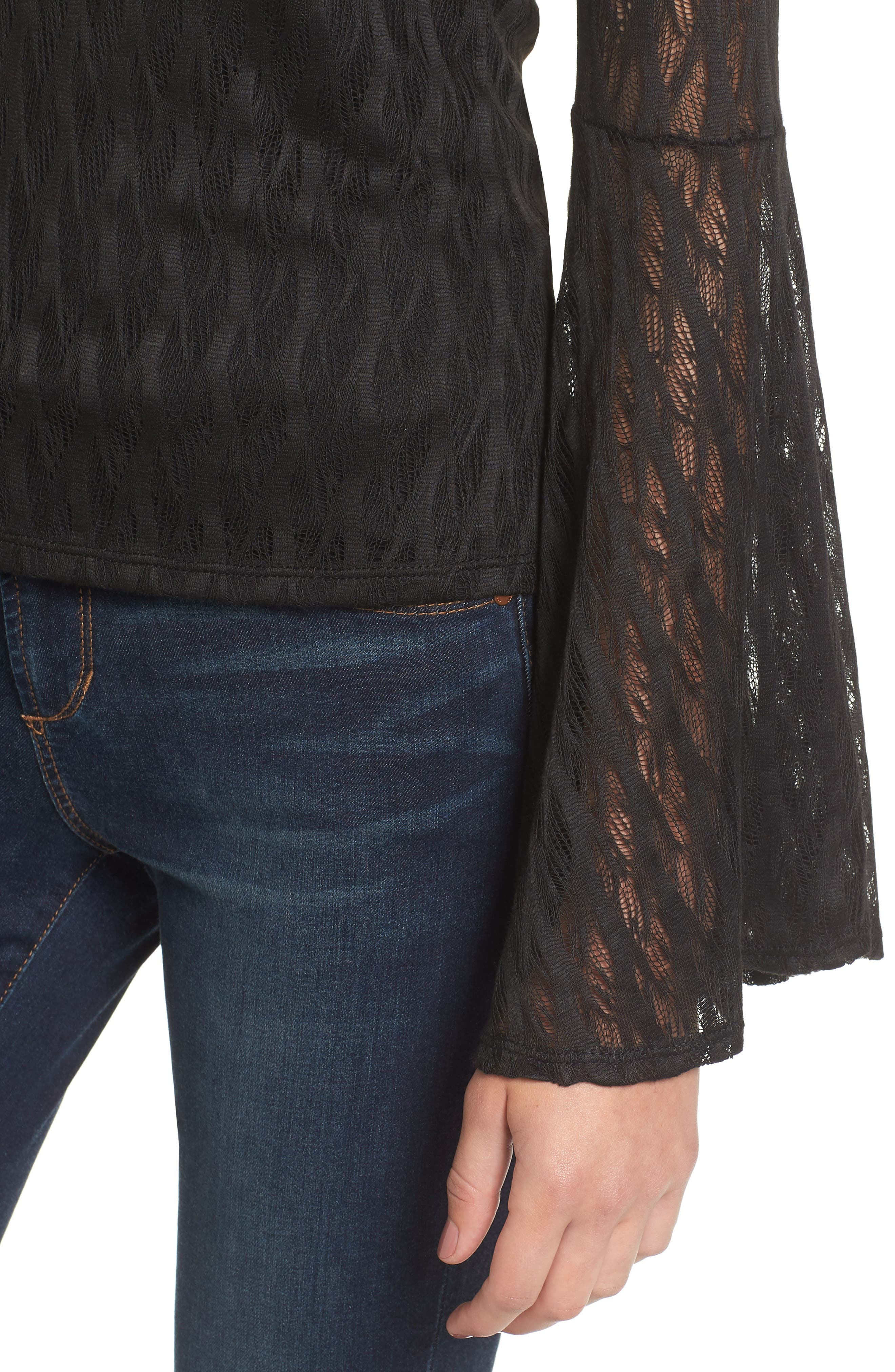 Bell Sleeve Off the Shoulder Top,                             Alternate thumbnail 4, color,                             001