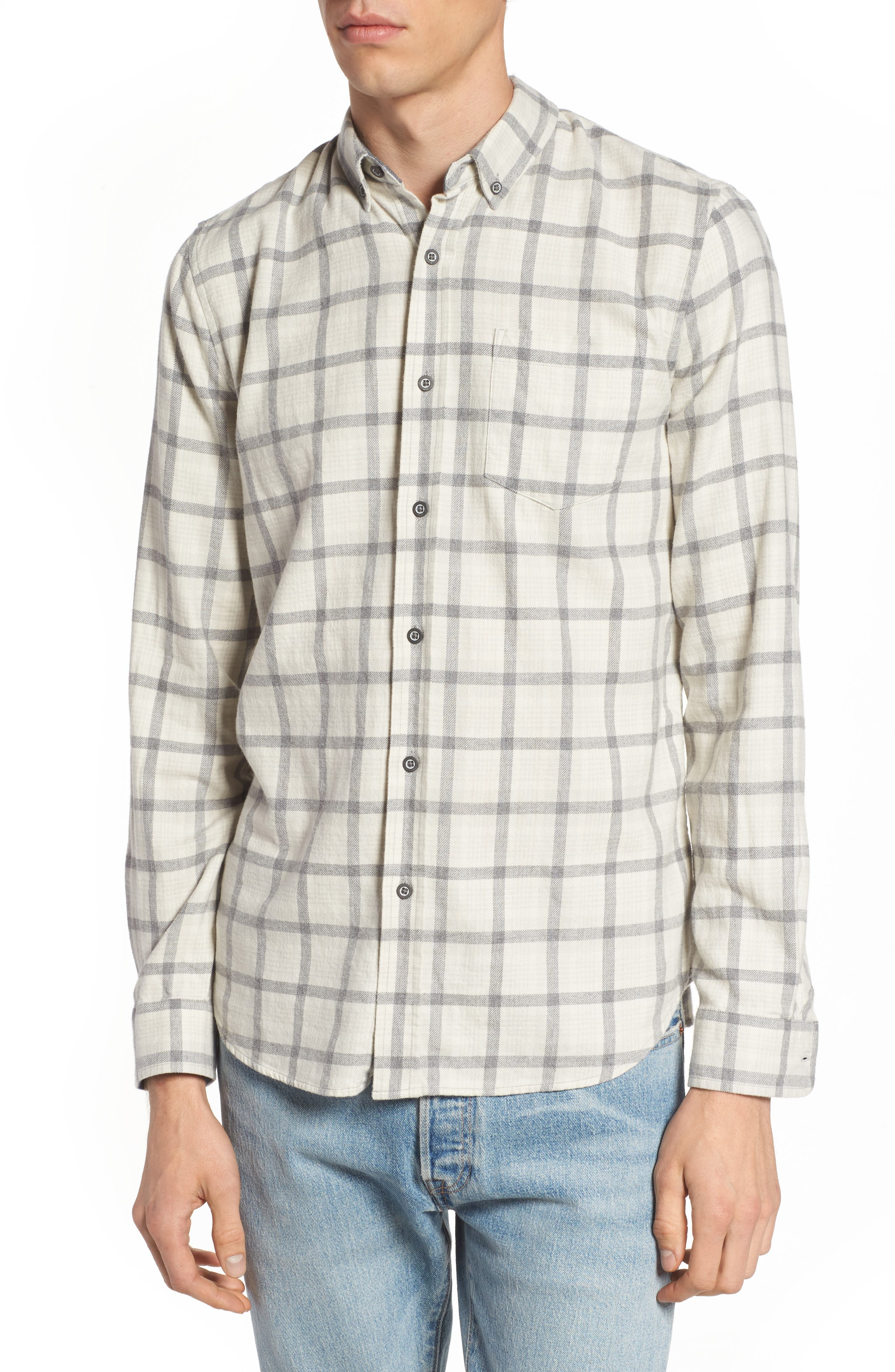 Grady Slim Fit Plaid Sport Shirt,                         Main,                         color, 100