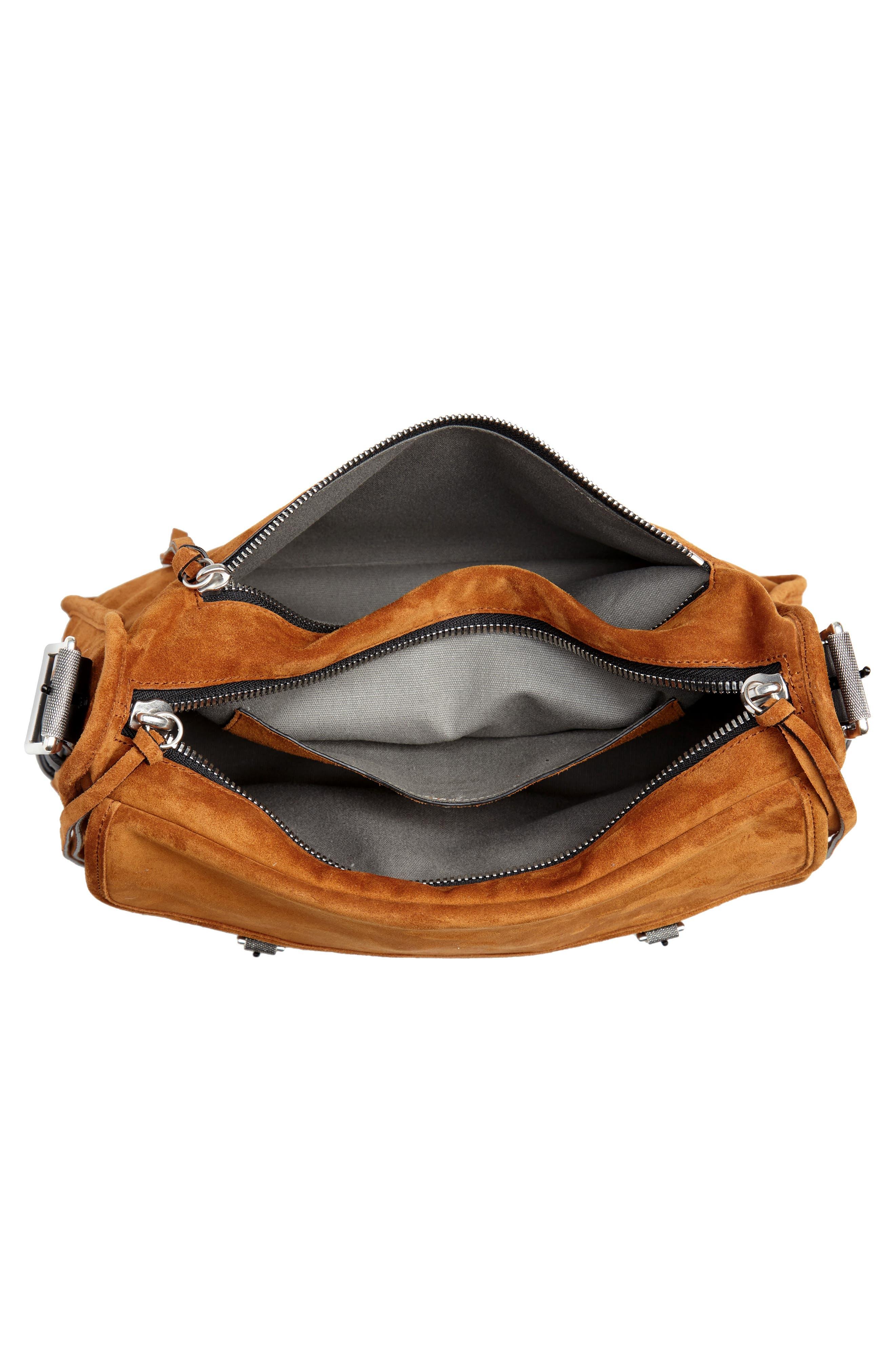 Field Leather Messenger Bag,                             Alternate thumbnail 4, color,                             TAN SUEDE