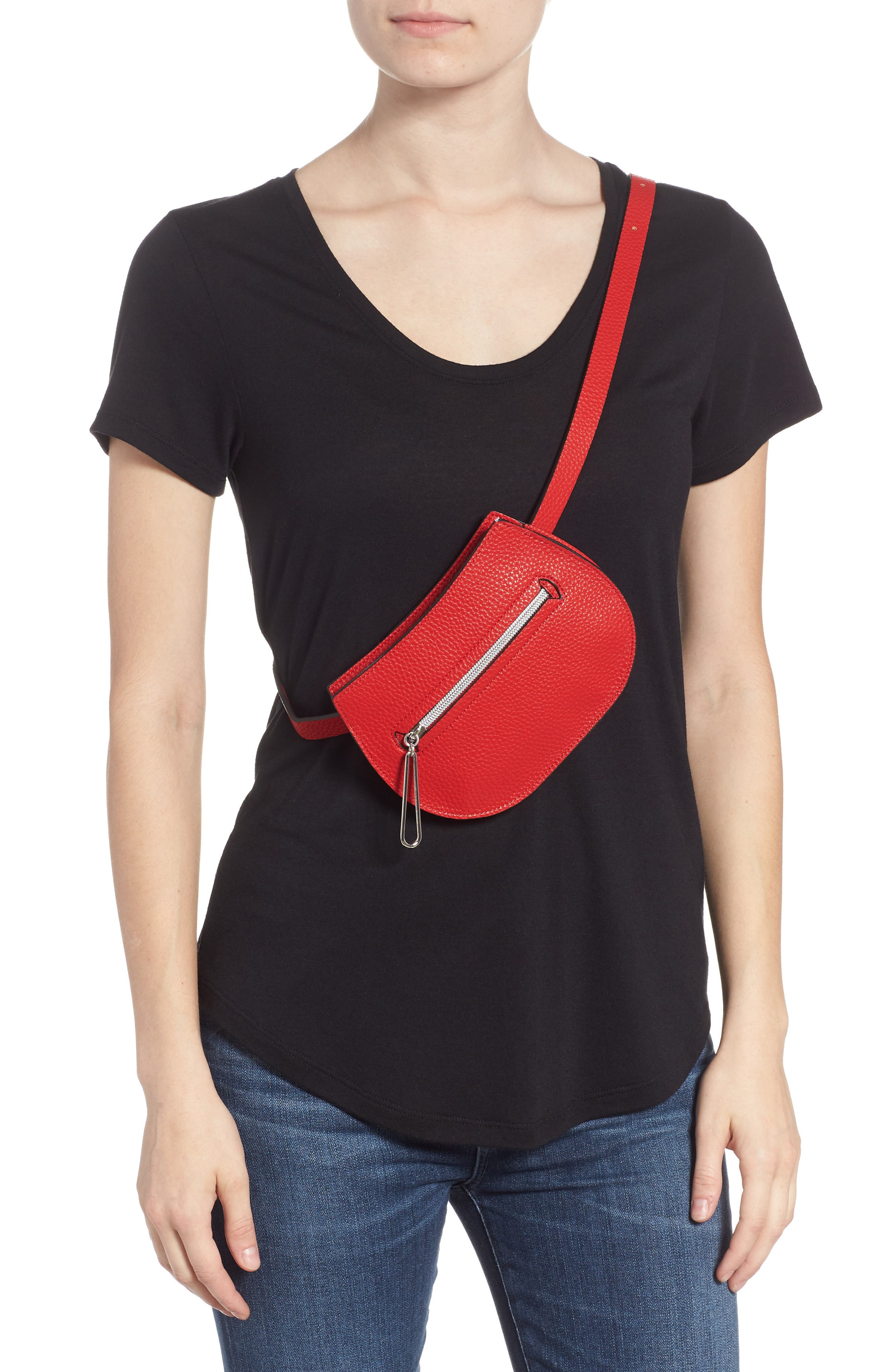 Trish Faux Leather Belt Bag,                             Alternate thumbnail 3, color,                             RED