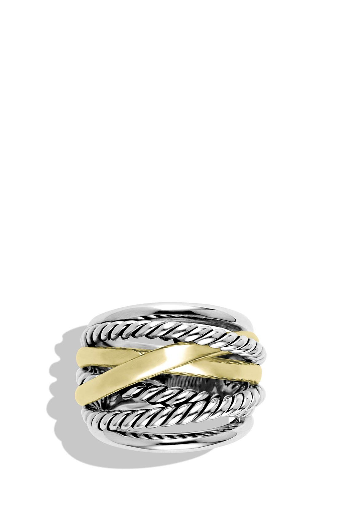 'Crossover' Wide Ring with Gold,                             Alternate thumbnail 3, color,                             STERLING SILVER/ 14K GOLD