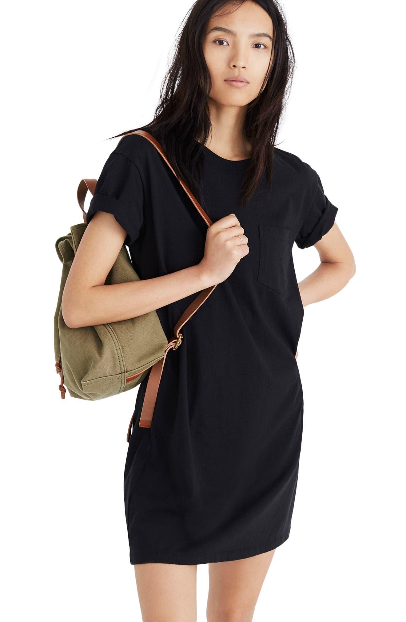 Pocket T-Shirt Dress,                             Alternate thumbnail 3, color,                             001