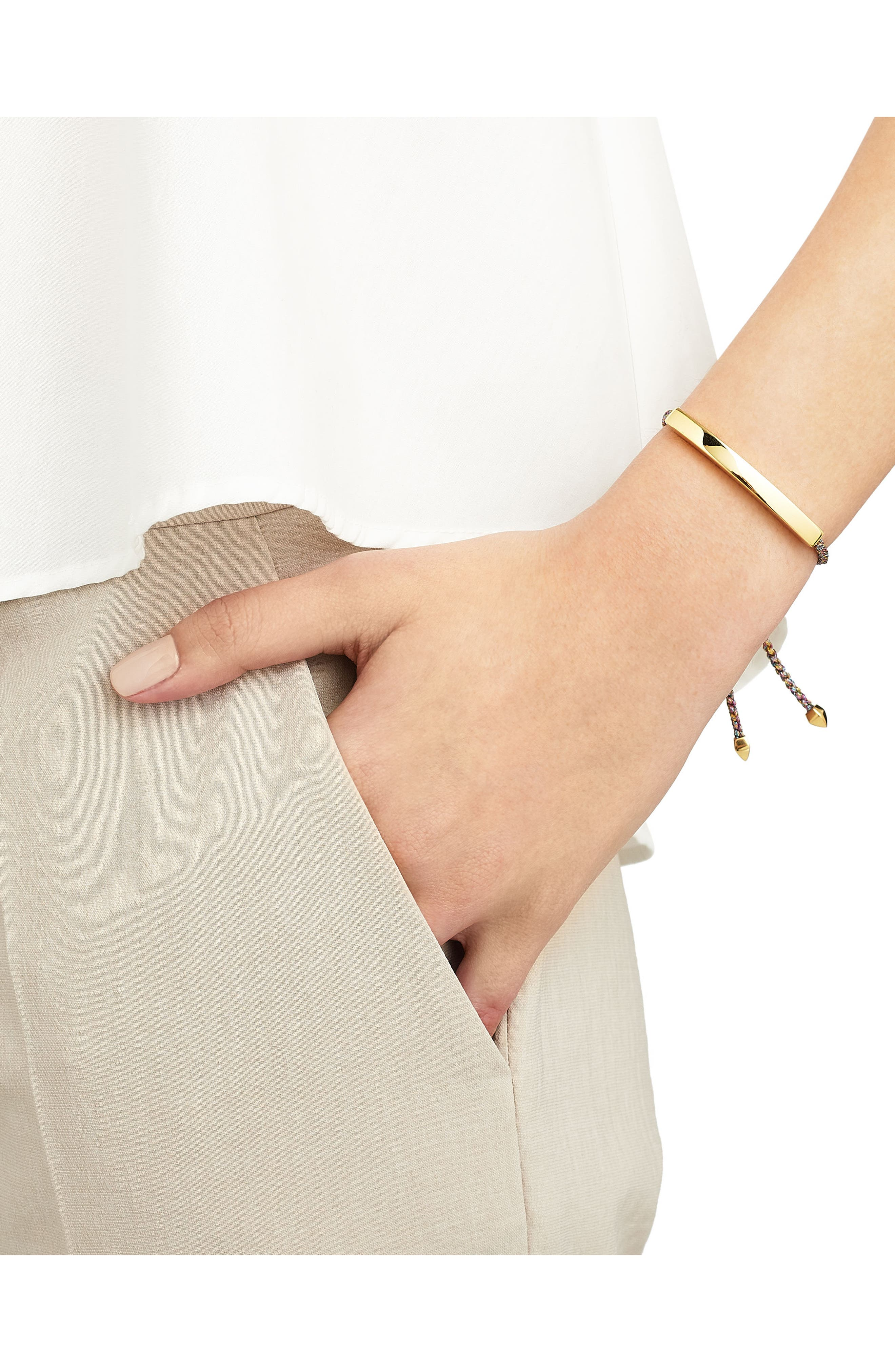 Engravable Large Linear Friendship Bracelet,                             Alternate thumbnail 2, color,                             RAINBOW METALLIC/ YELLOW GOLD