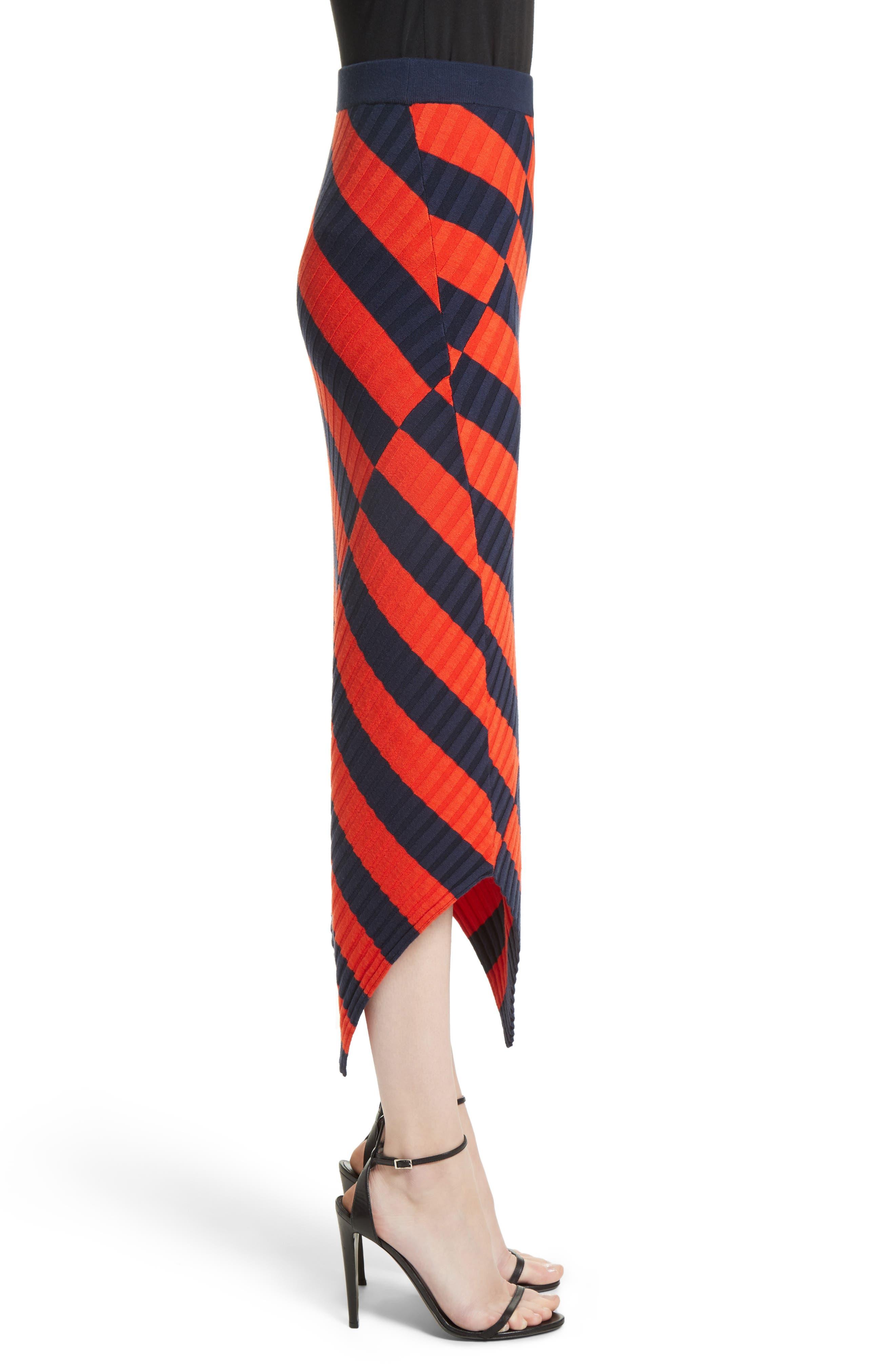 Asymmetrical Stripe Midi Skirt,                             Alternate thumbnail 3, color,                             830