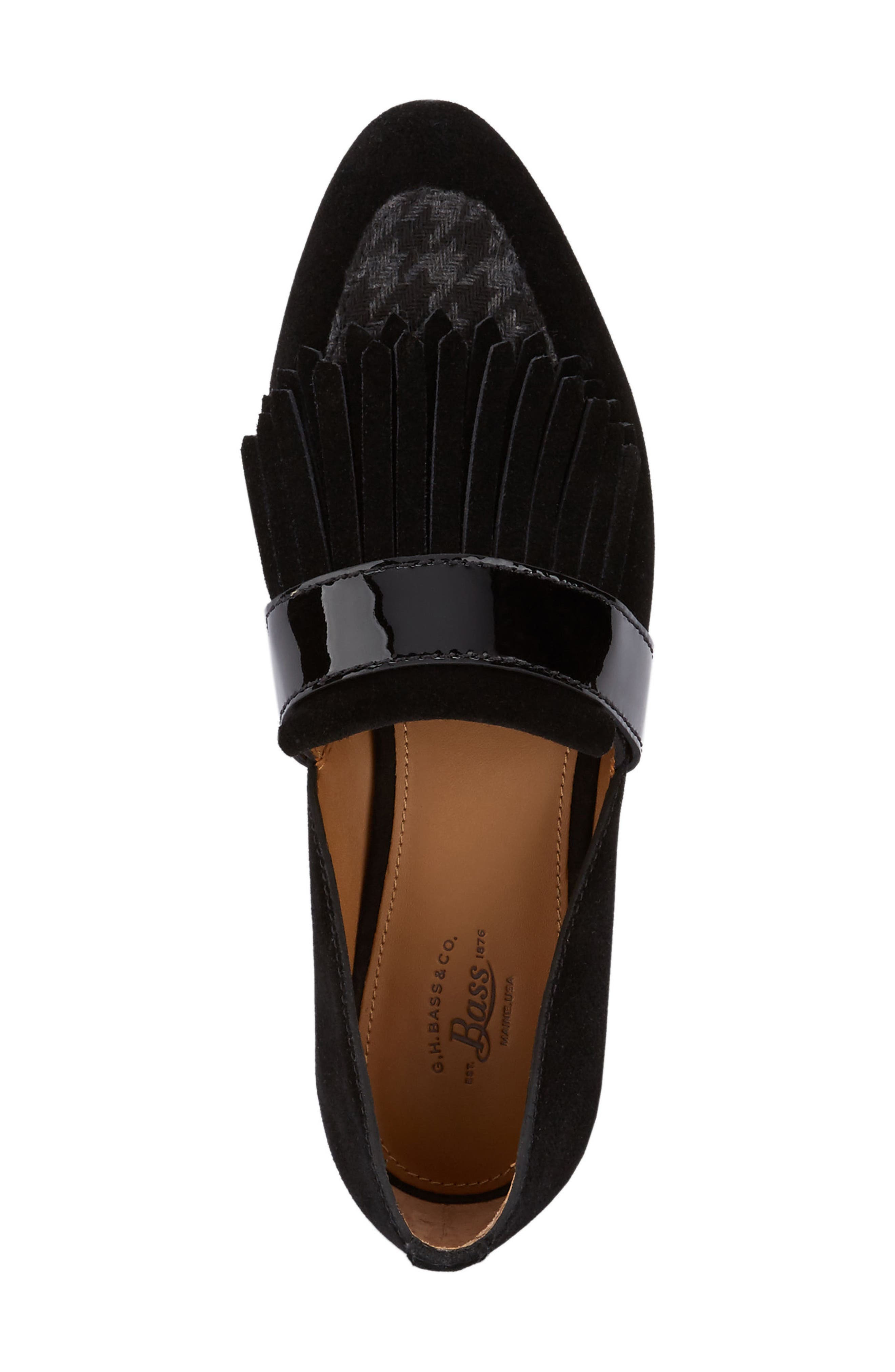 'Harlow' Kiltie Leather Loafer,                             Alternate thumbnail 3, color,                             002