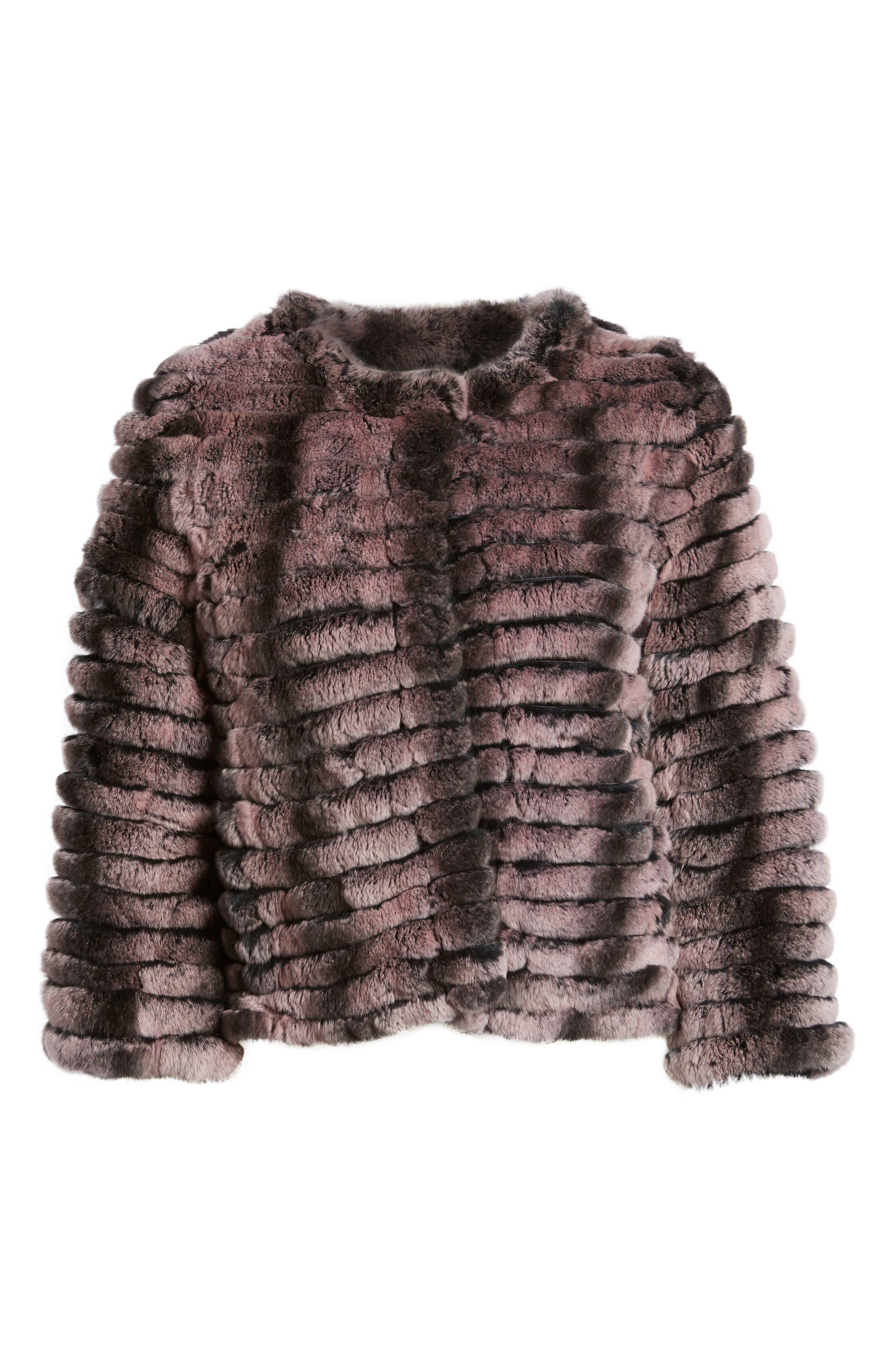 Genuine Rabbit Fur Crop Jacket,                             Alternate thumbnail 10, color,