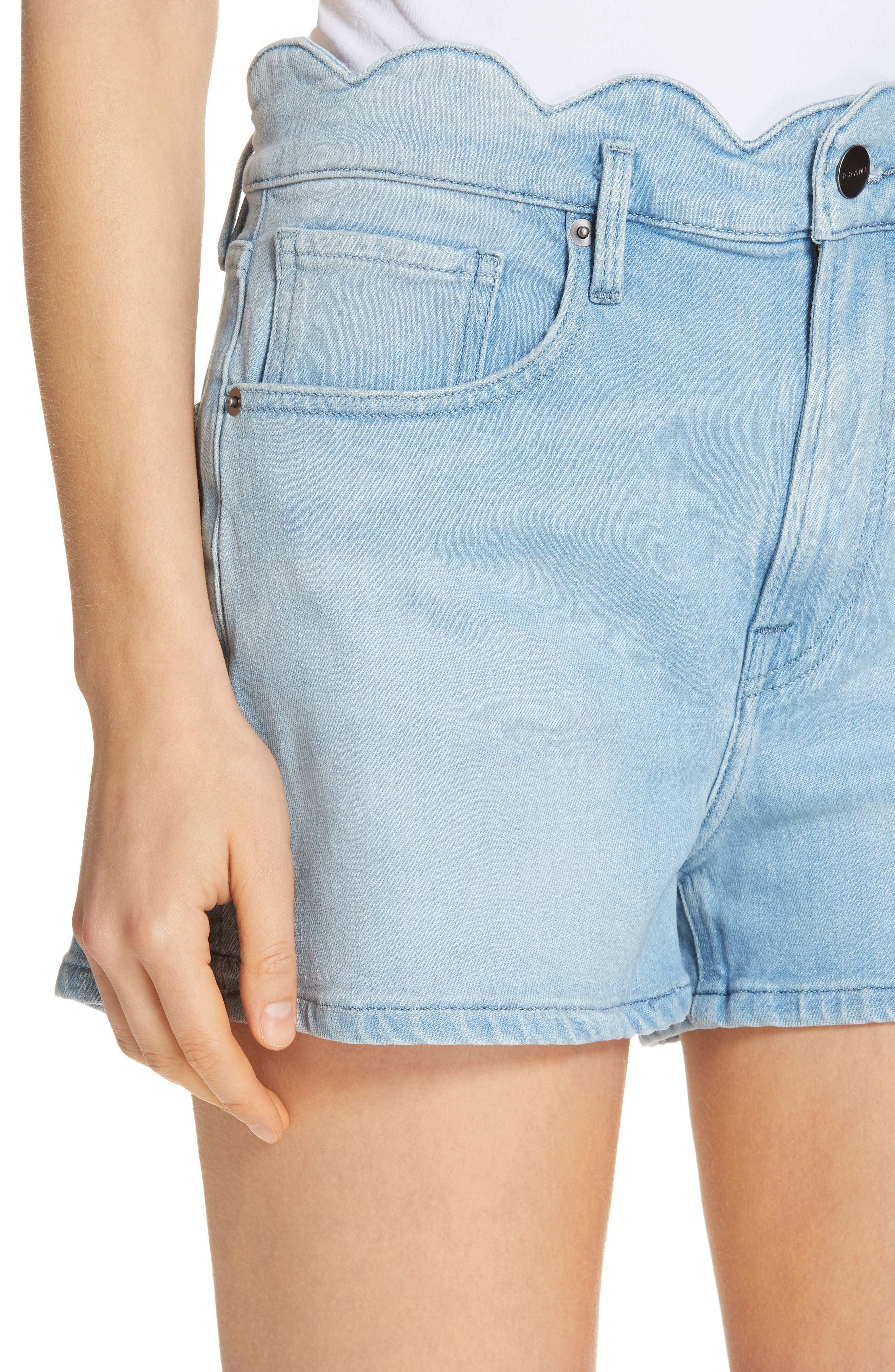 Scallop Waist Denim Shorts,                             Alternate thumbnail 4, color,                             WRIGHT
