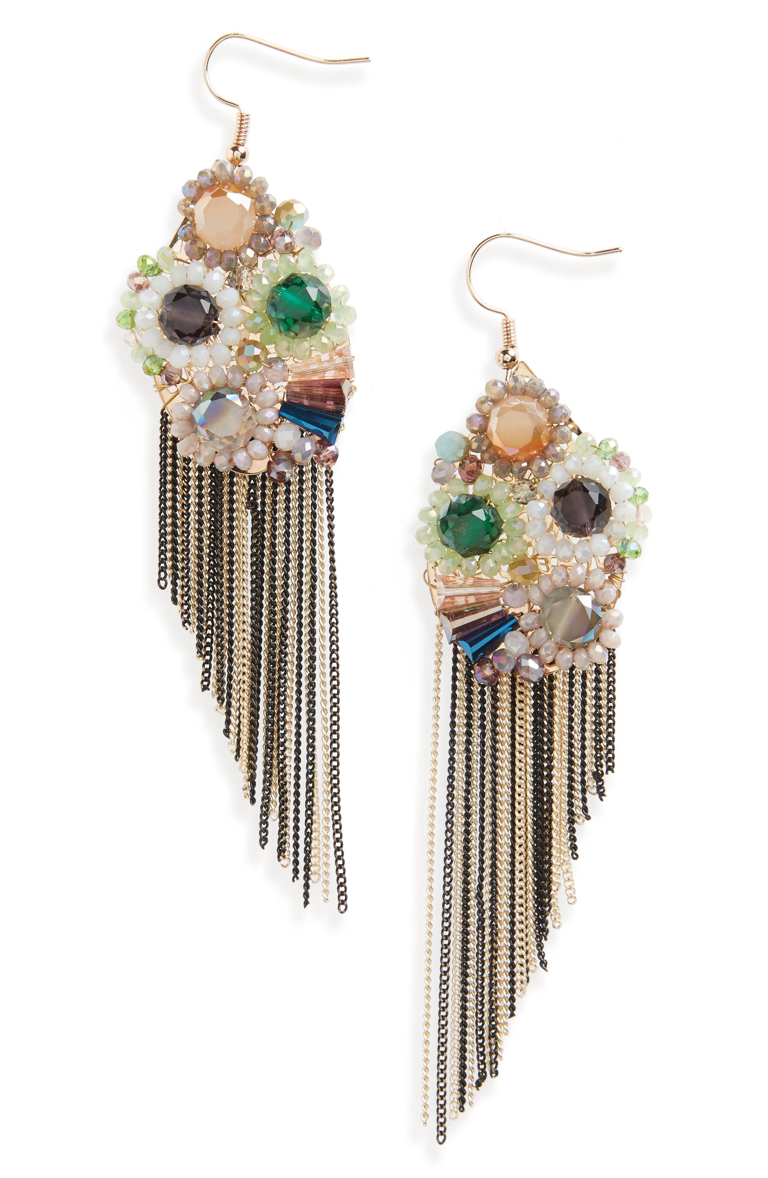 Goddess Fringe Earrings,                         Main,                         color, MULTI