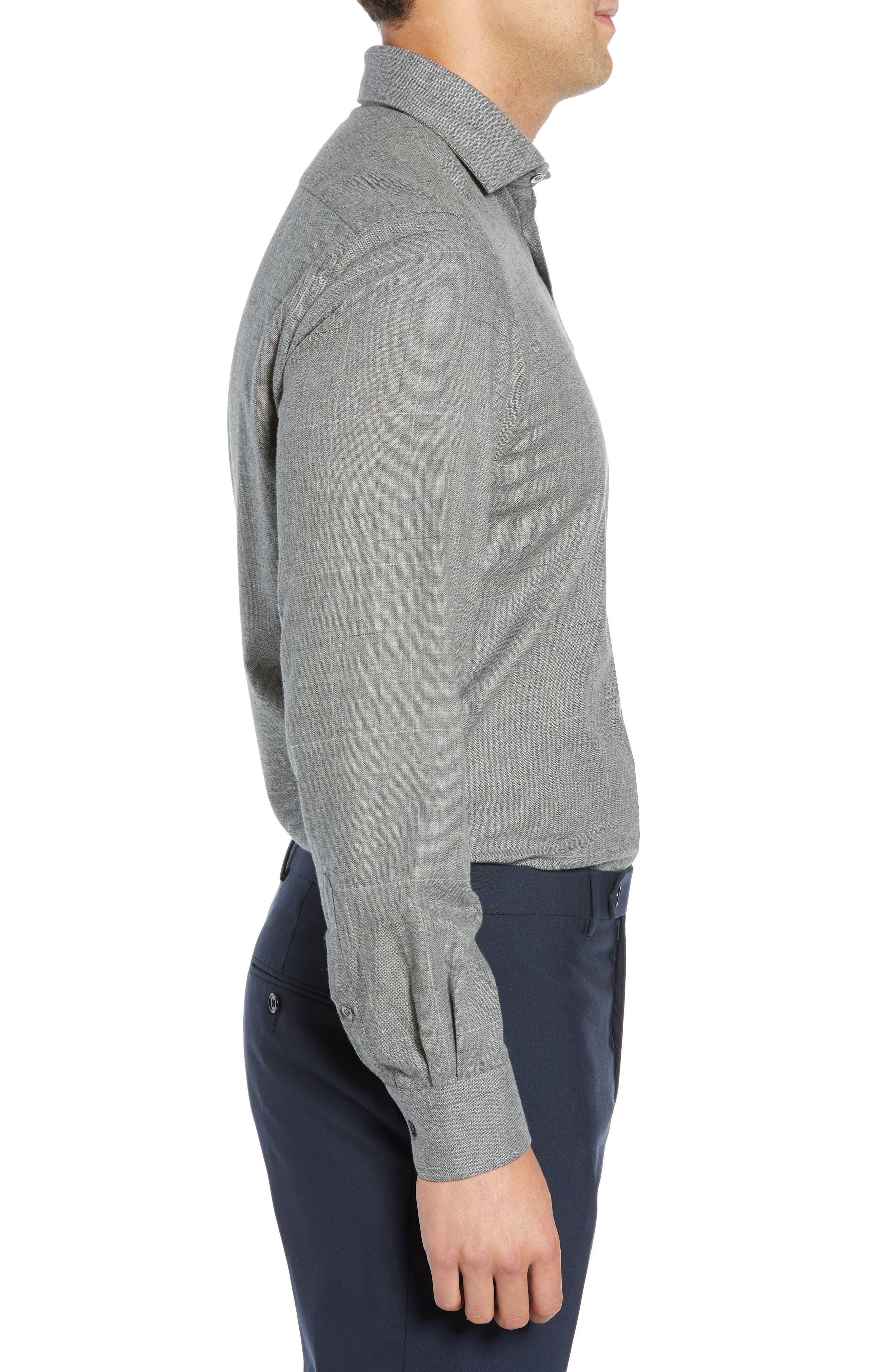 Slim Fit Herringbone Dress Shirt,                             Alternate thumbnail 4, color,                             GREY