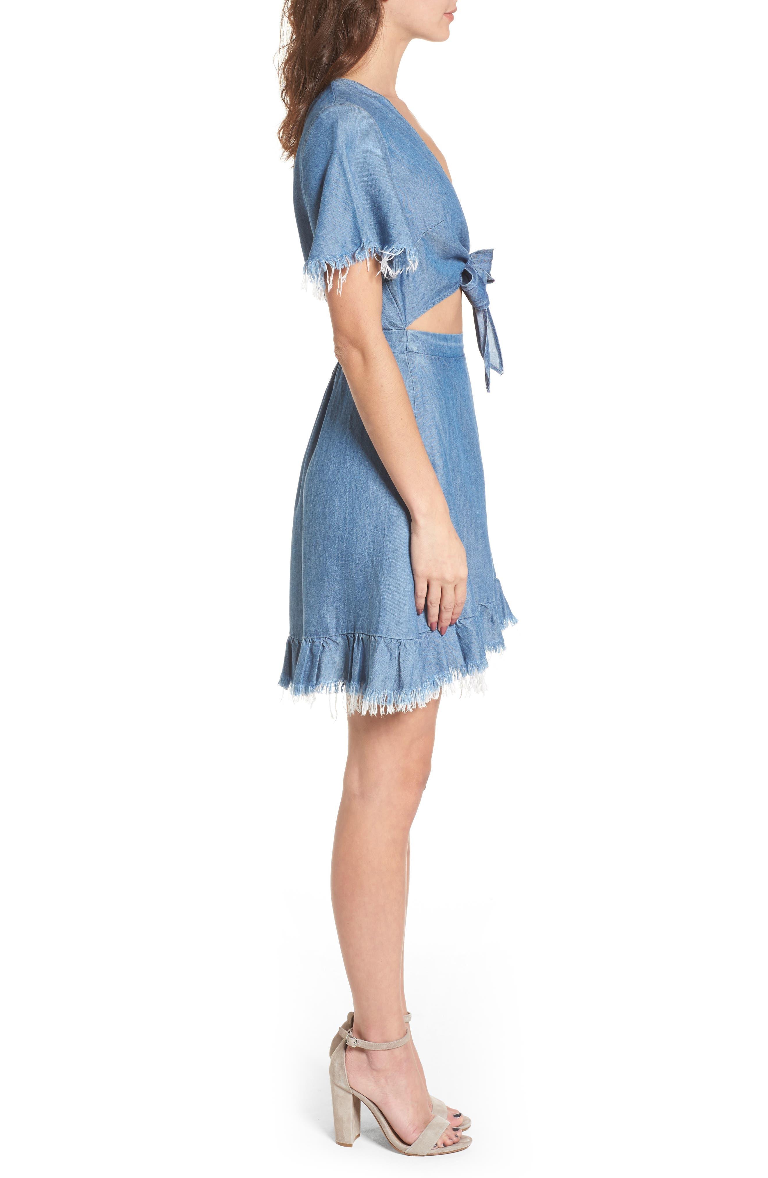 Melanie Ruffle Minidress,                             Alternate thumbnail 3, color,                             400