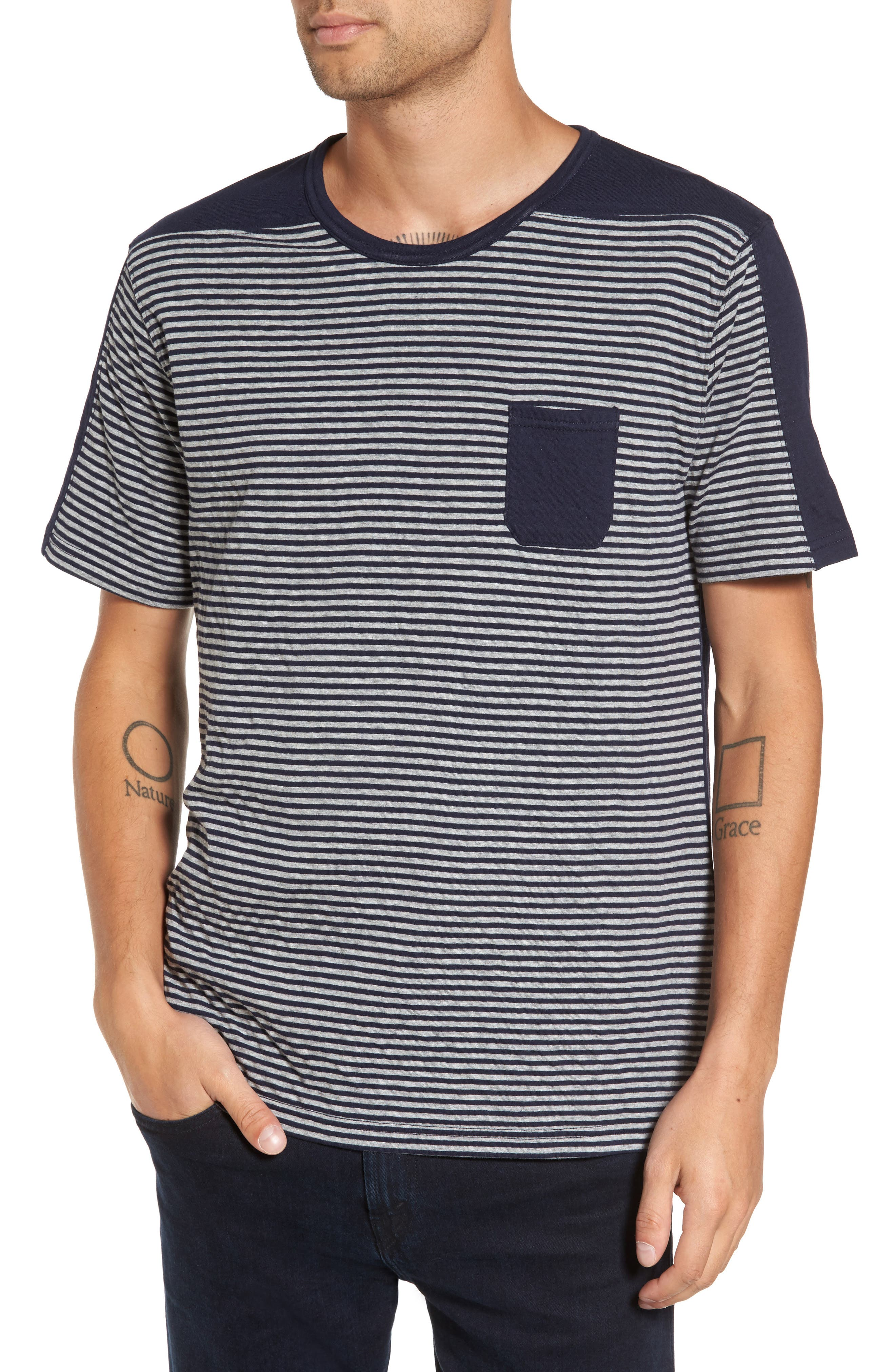 Striped Pocket T-Shirt,                         Main,                         color, 410