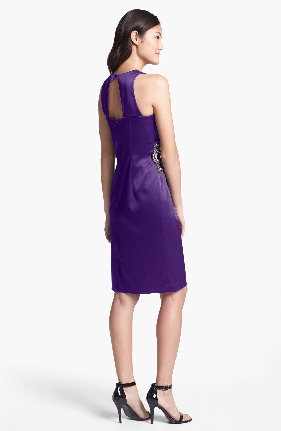 Embellished Side Ruched Sheath Dress,                             Alternate thumbnail 8, color,